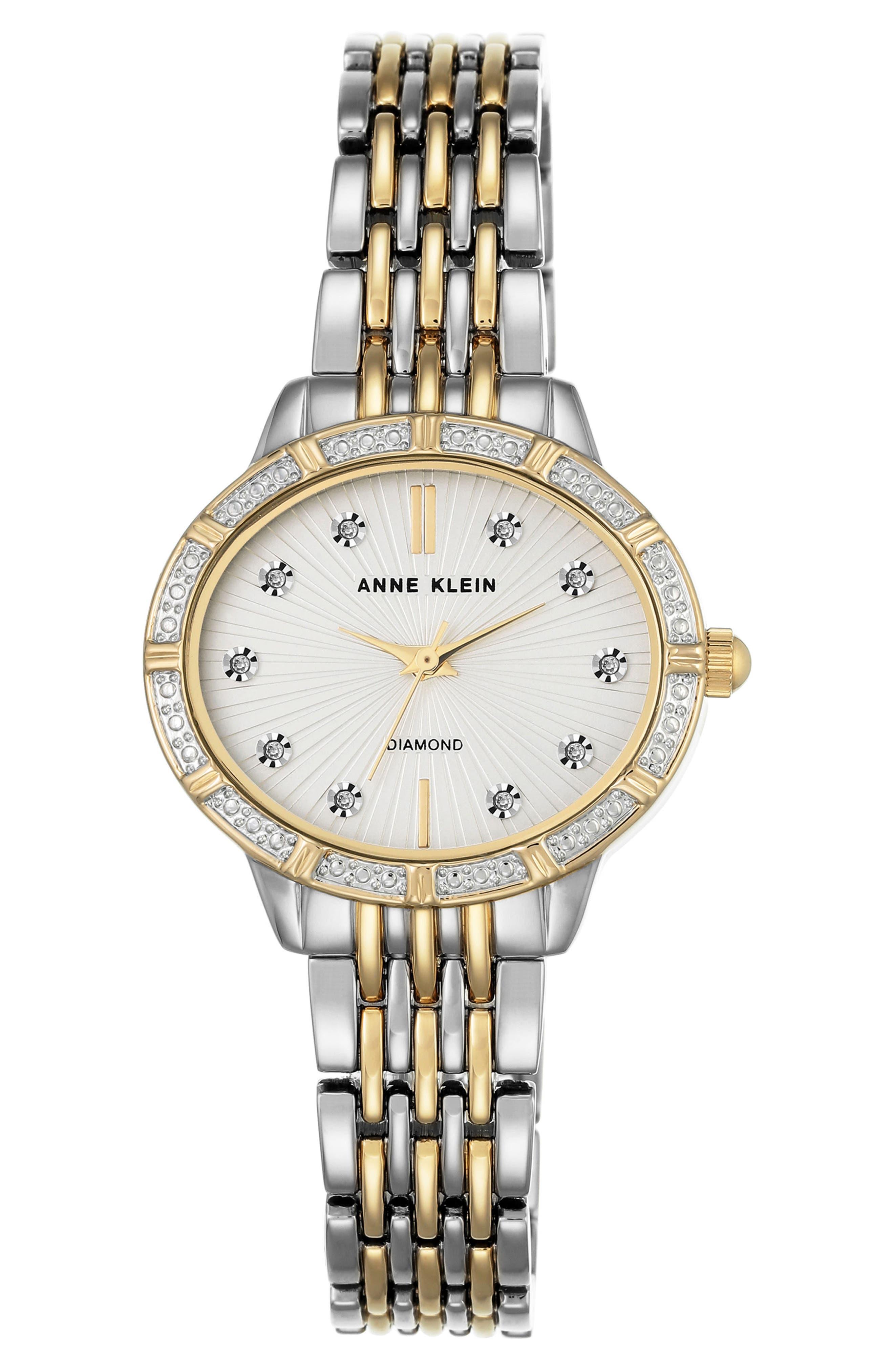 Anne Klein Oval Diamond Bracelet Watch, 28mm