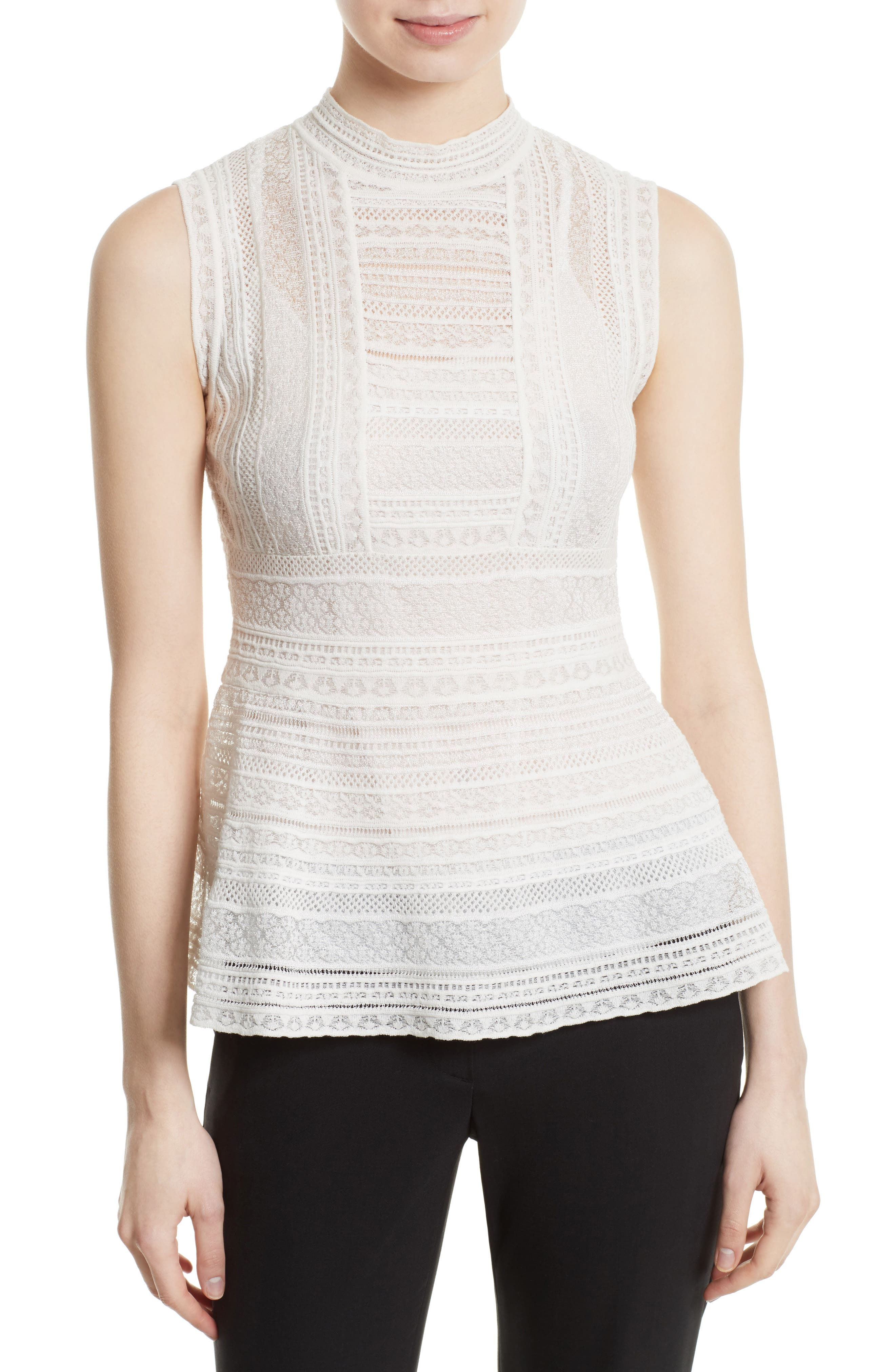 M Missoni Lace Ribbon Peplum Top