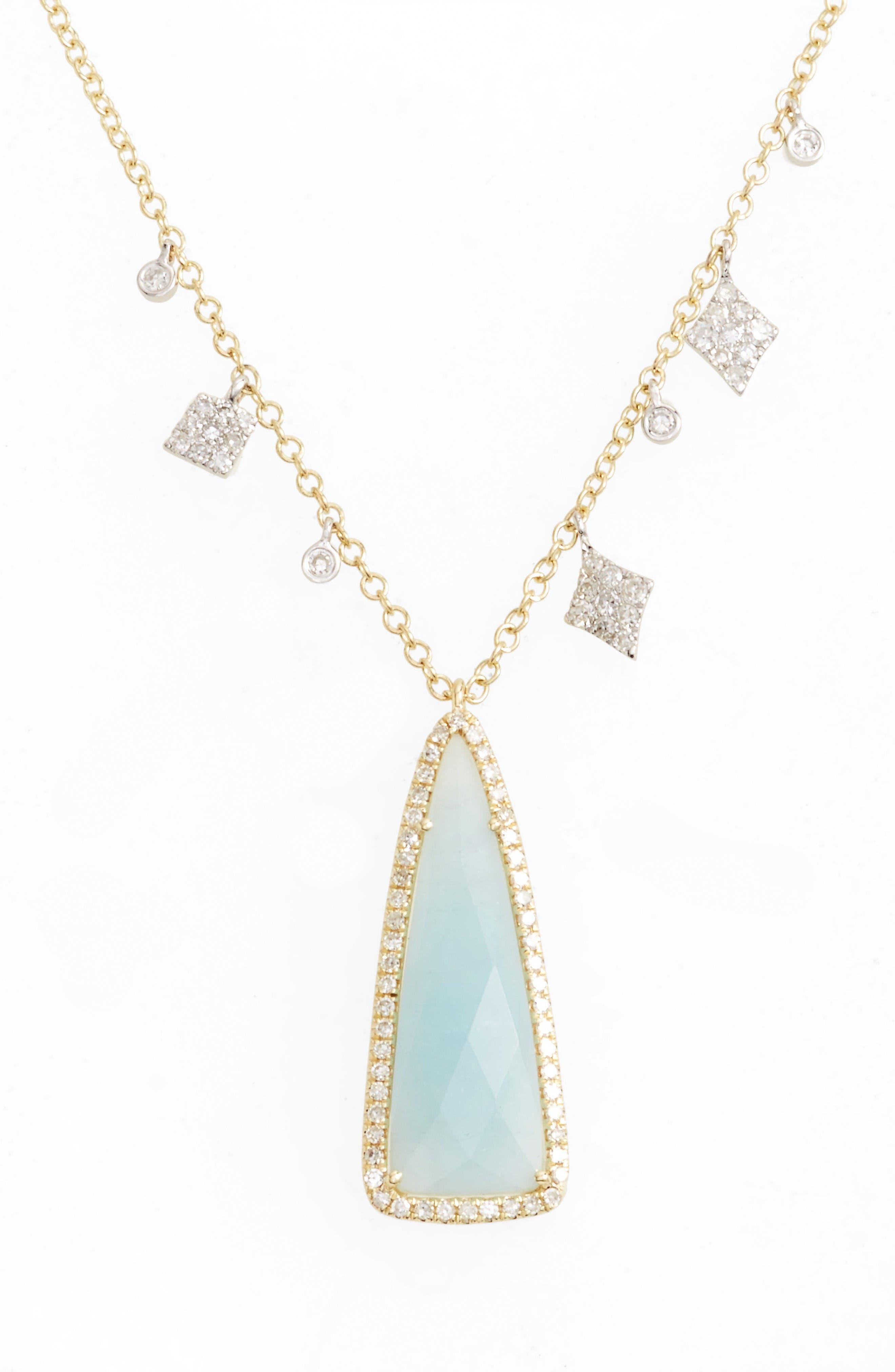 Meira T Diamond & Semiprecious Stone Dangle Charm Necklace