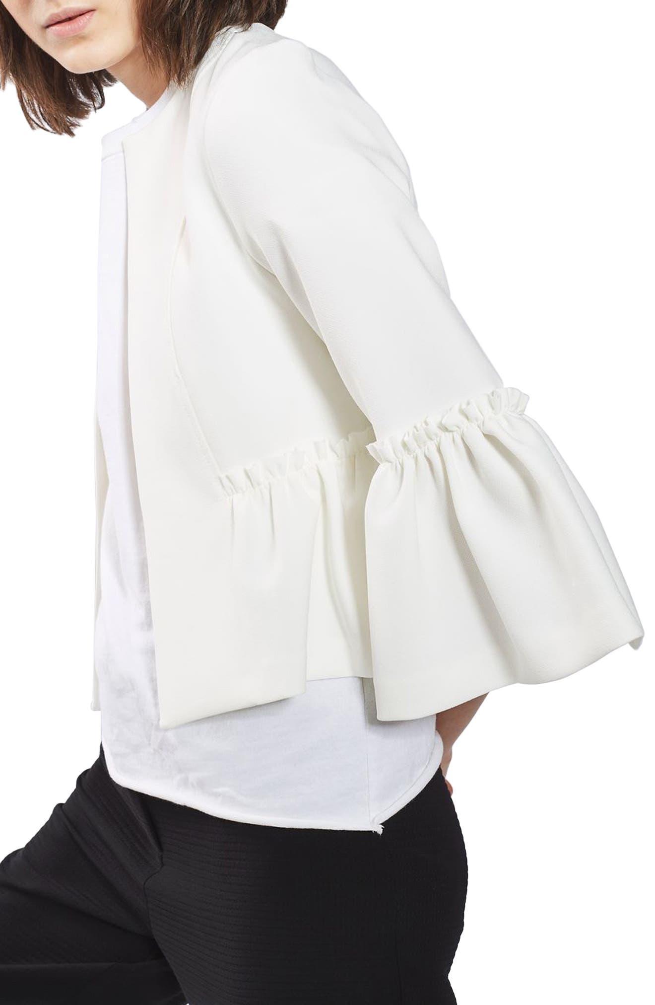 Topshop Ruffle Crop Jacket