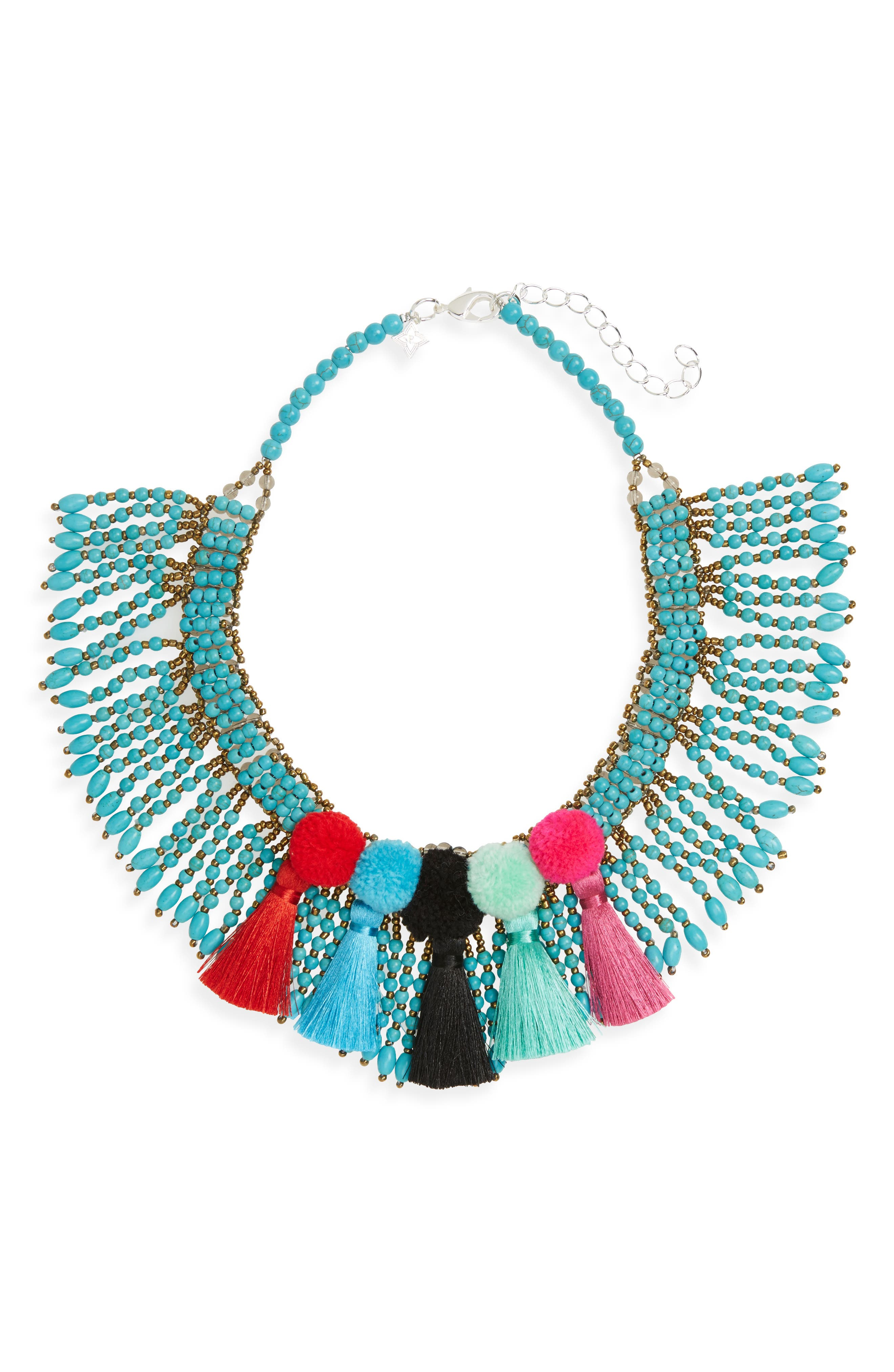 Panacea Beaded Pompom Tassel Statement Necklace