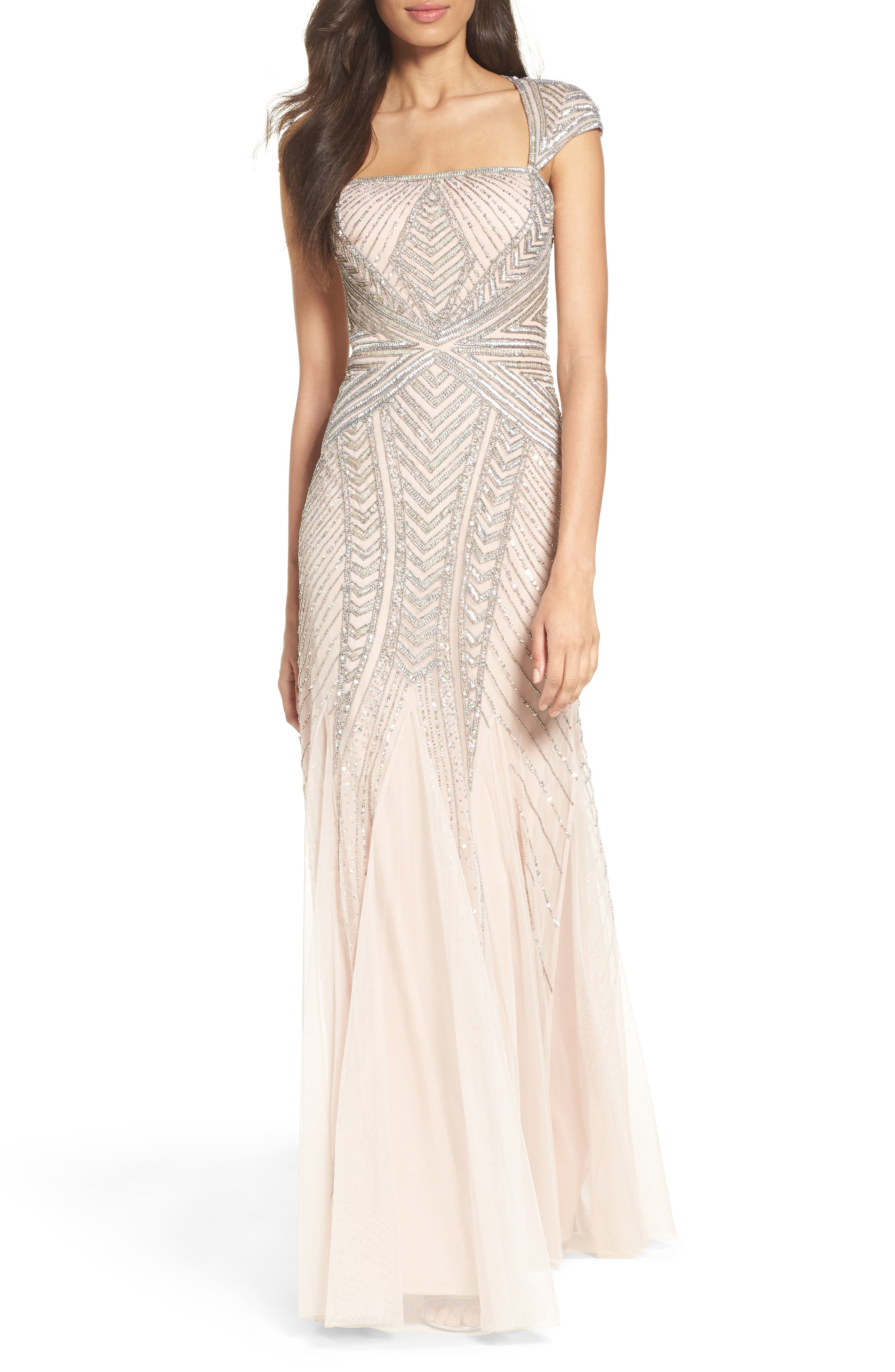 Adrianna Papell Envelope Embellished Mesh Gown (Regular & Petite)