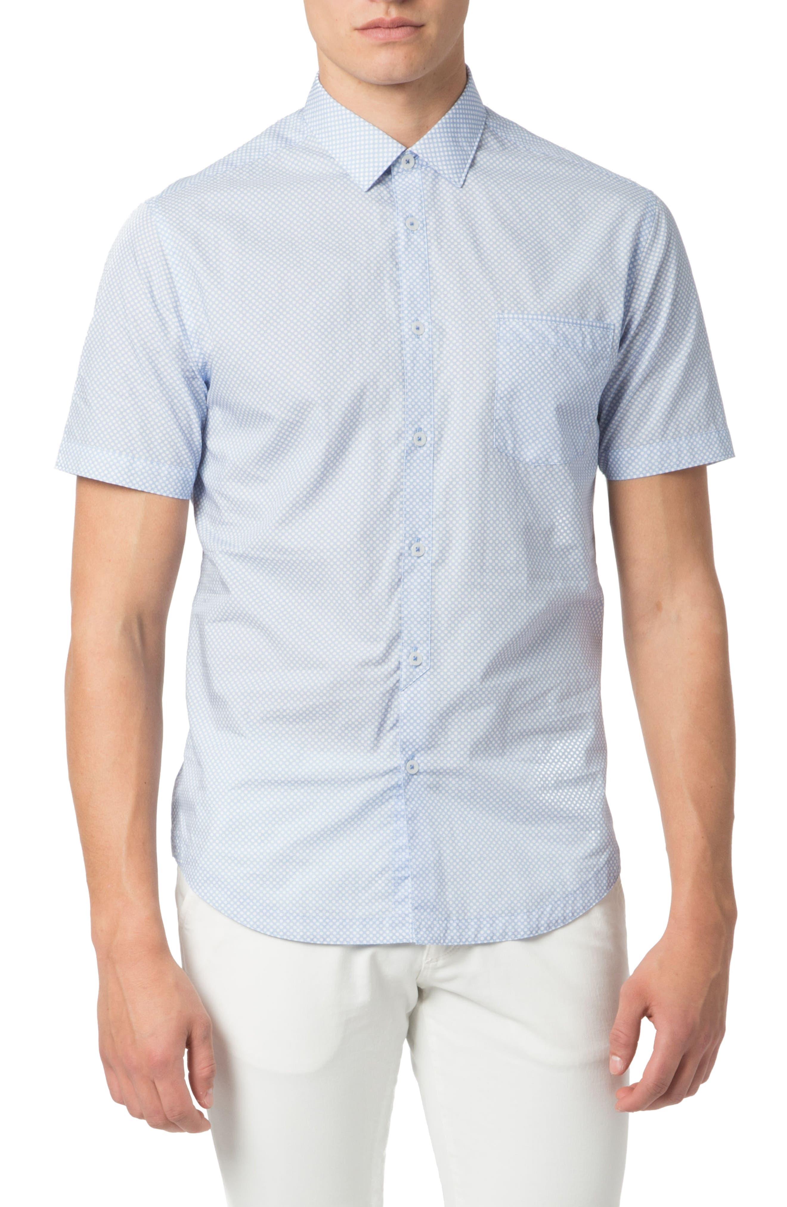 Good Man Brand Trim Fit Dot Print Sport Shirt