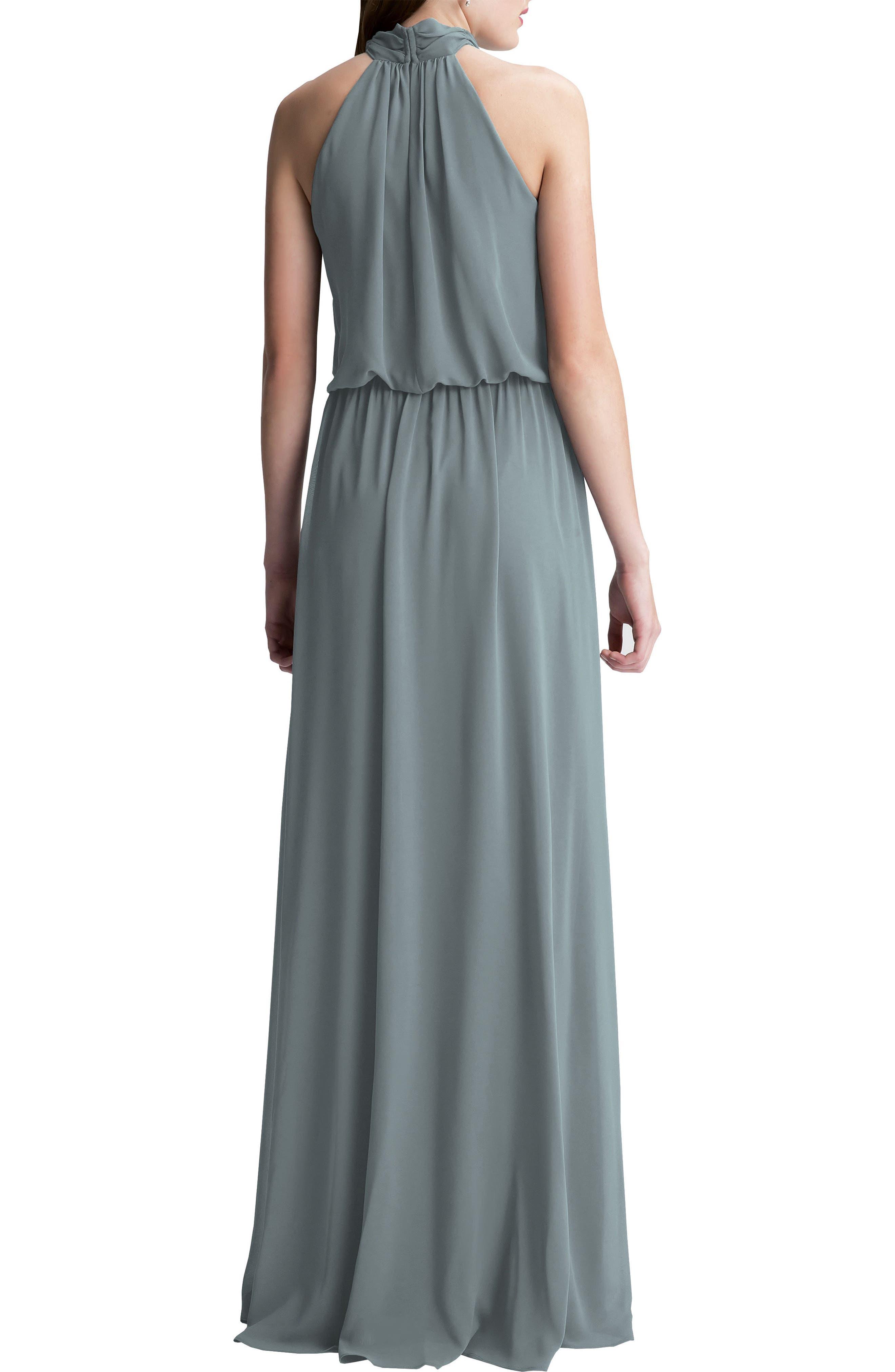 Alternate Image 2  - #Levkoff High Neck Chiffon A-Line Gown