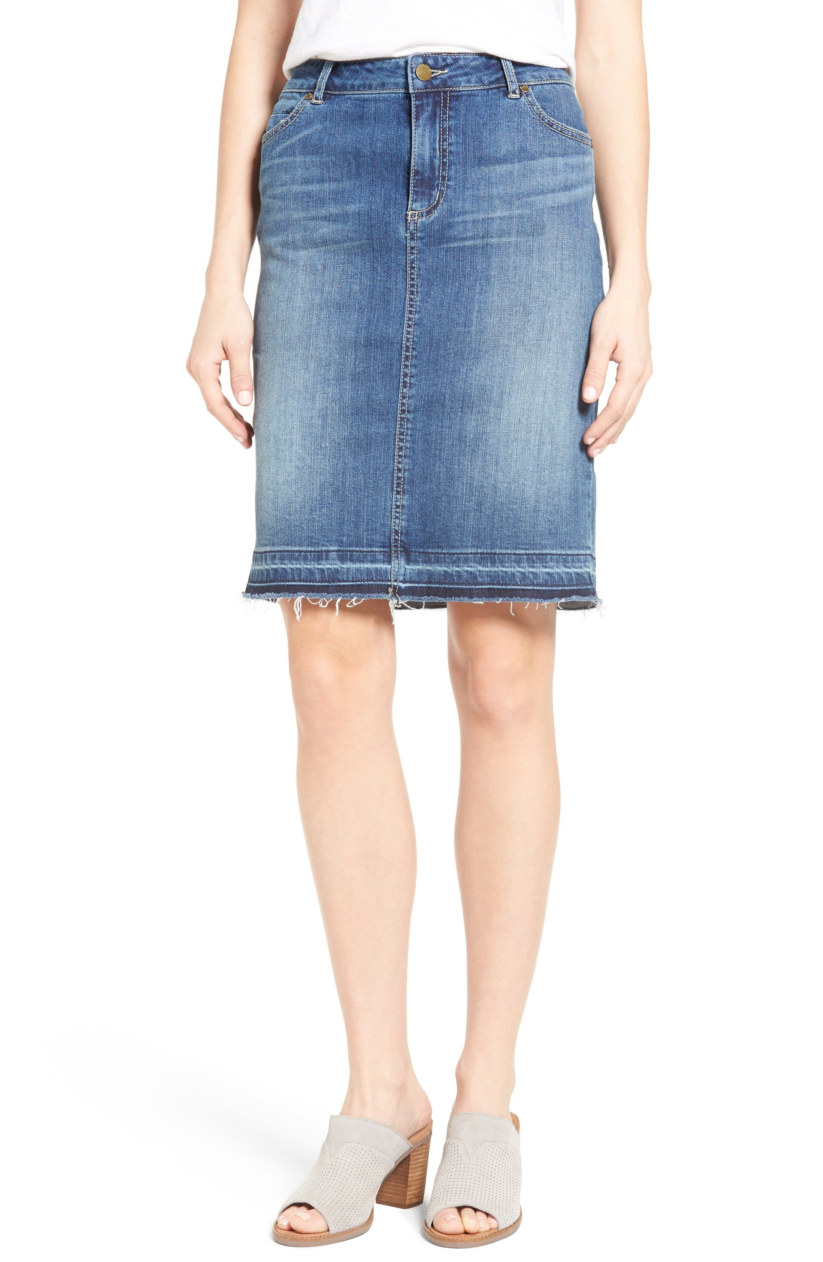 Main Image - Caslon® Release Hem Denim Pencil Skirt