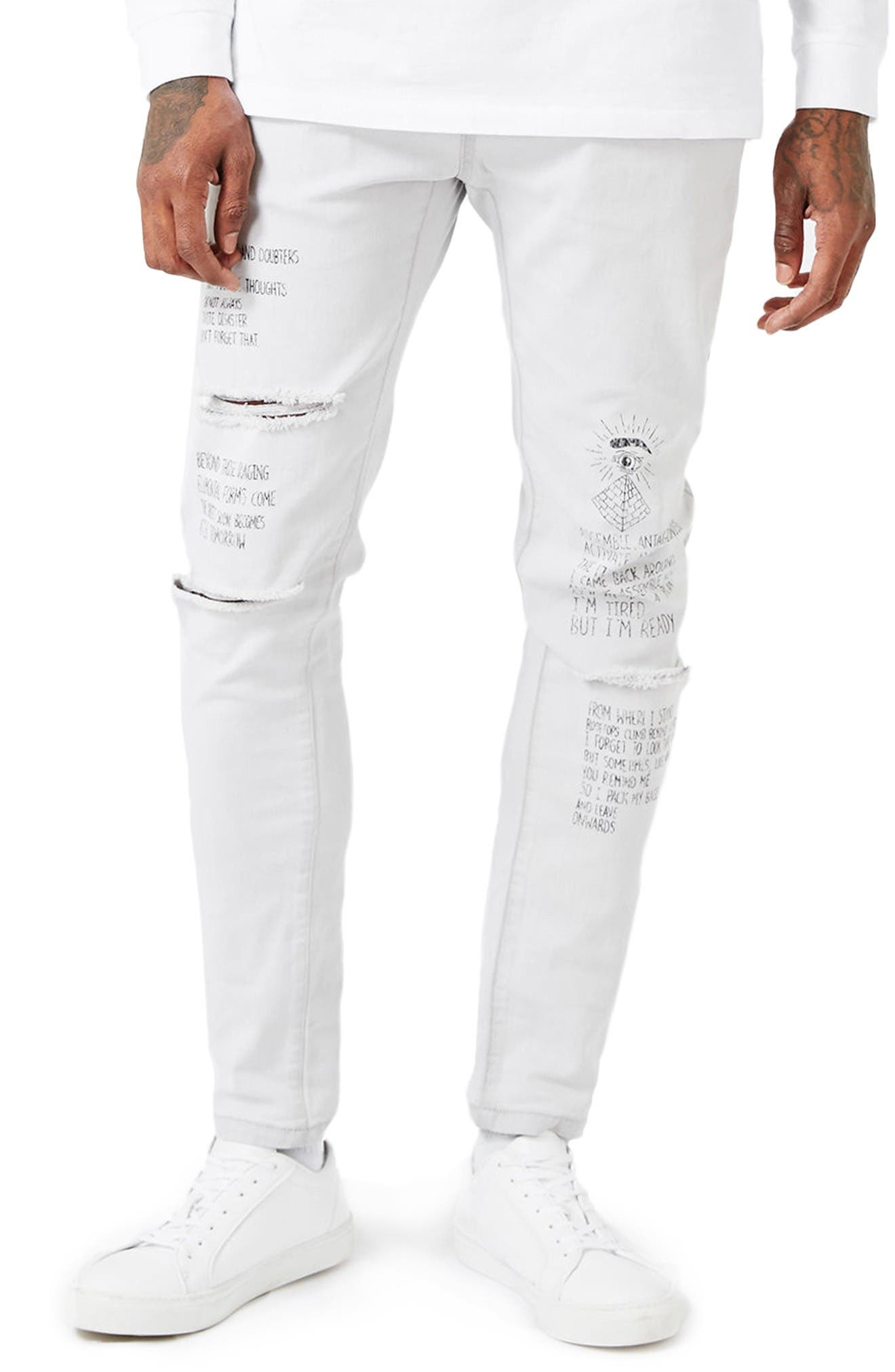 Main Image - Topman AAA Collection Voices Print Skinny Fit Jeans