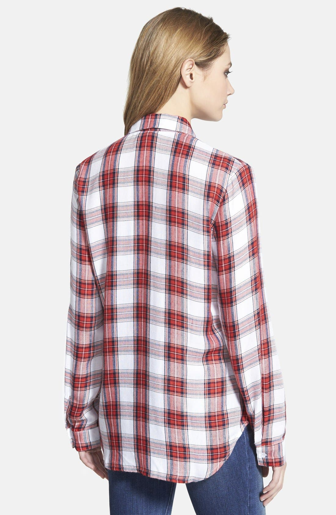 Alternate Image 2  - WAYF Long Sleeve Plaid Blouse