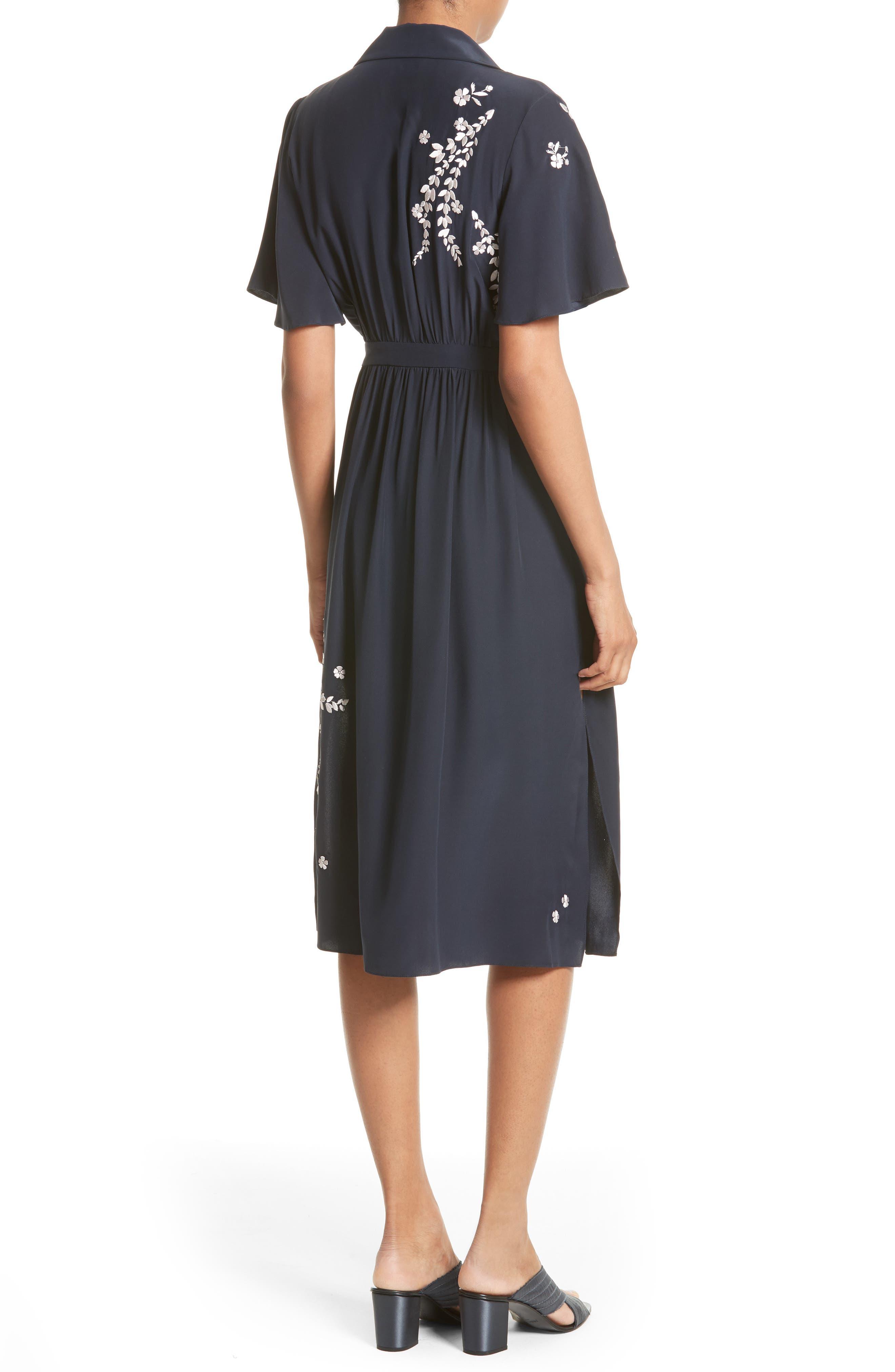 Alternate Image 2  - Cinq à Sept Lenore Embroidered Silk Shirtdress