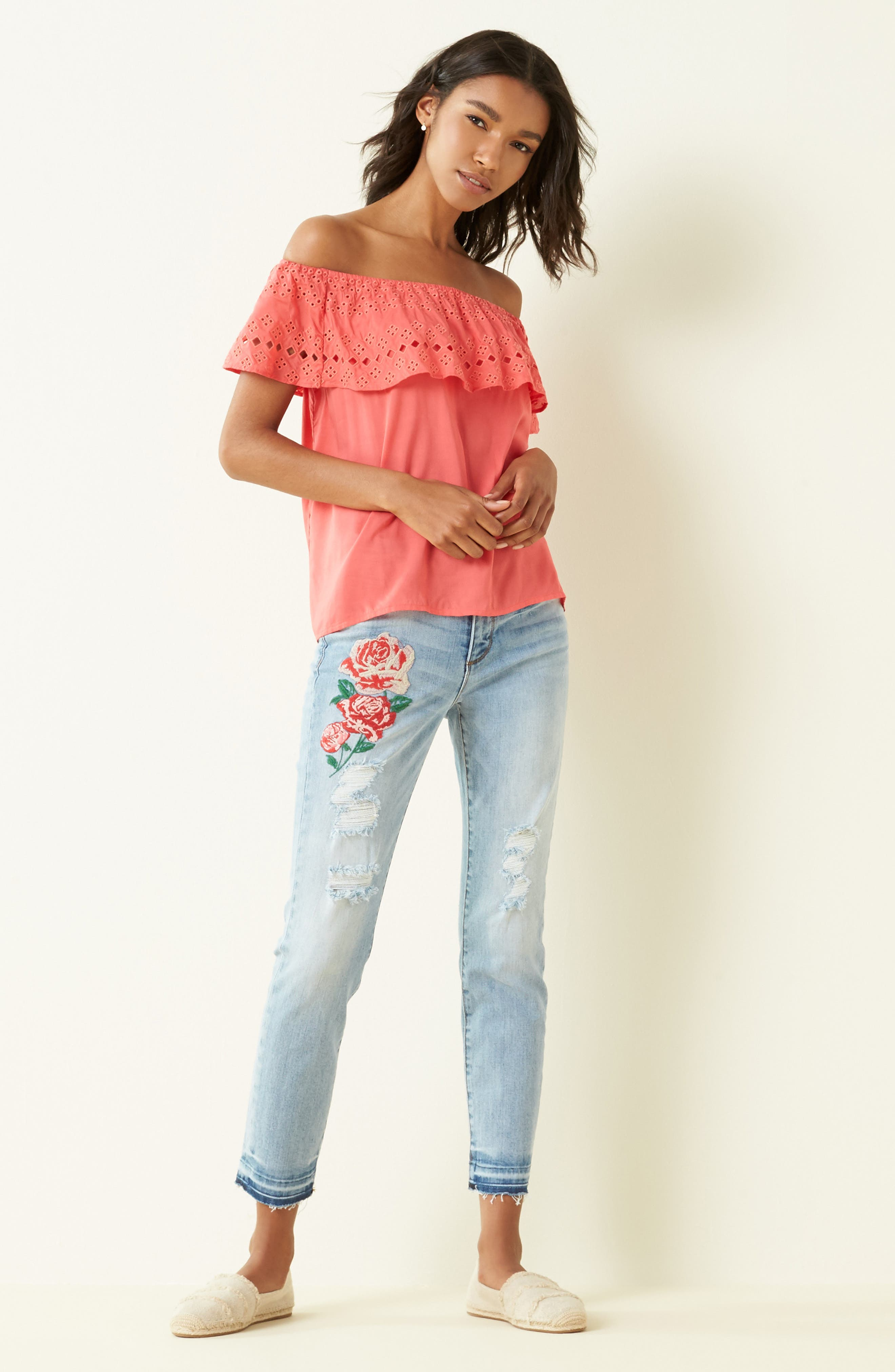 Alternate Image 2  - KUT from the Kloth Embroidered Straight Leg Jeans (Excellency) (Regular & Petite)