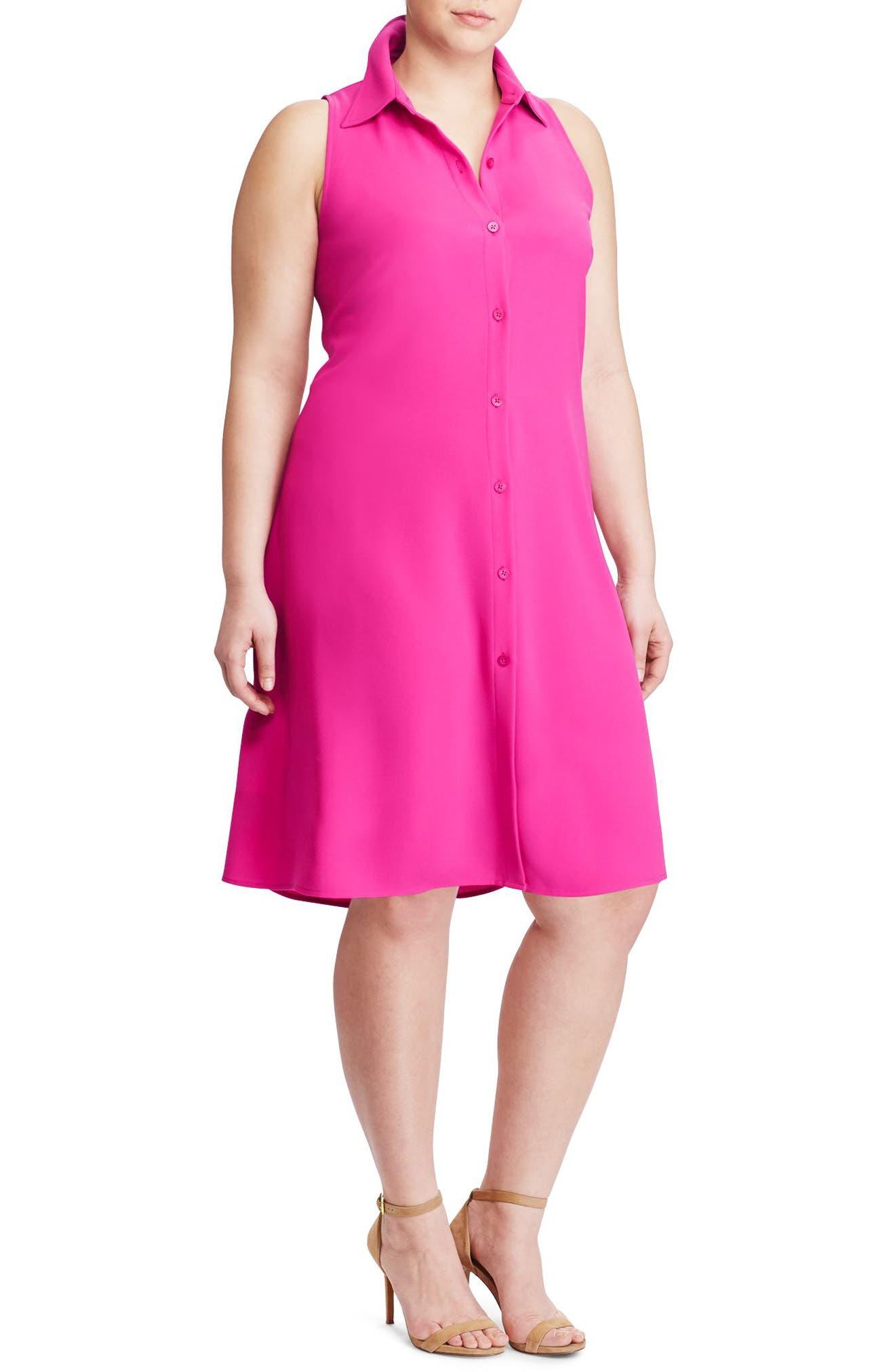 Lauren Ralph Lauren Sleeveless Crepe Shirtdress (Plus Size)