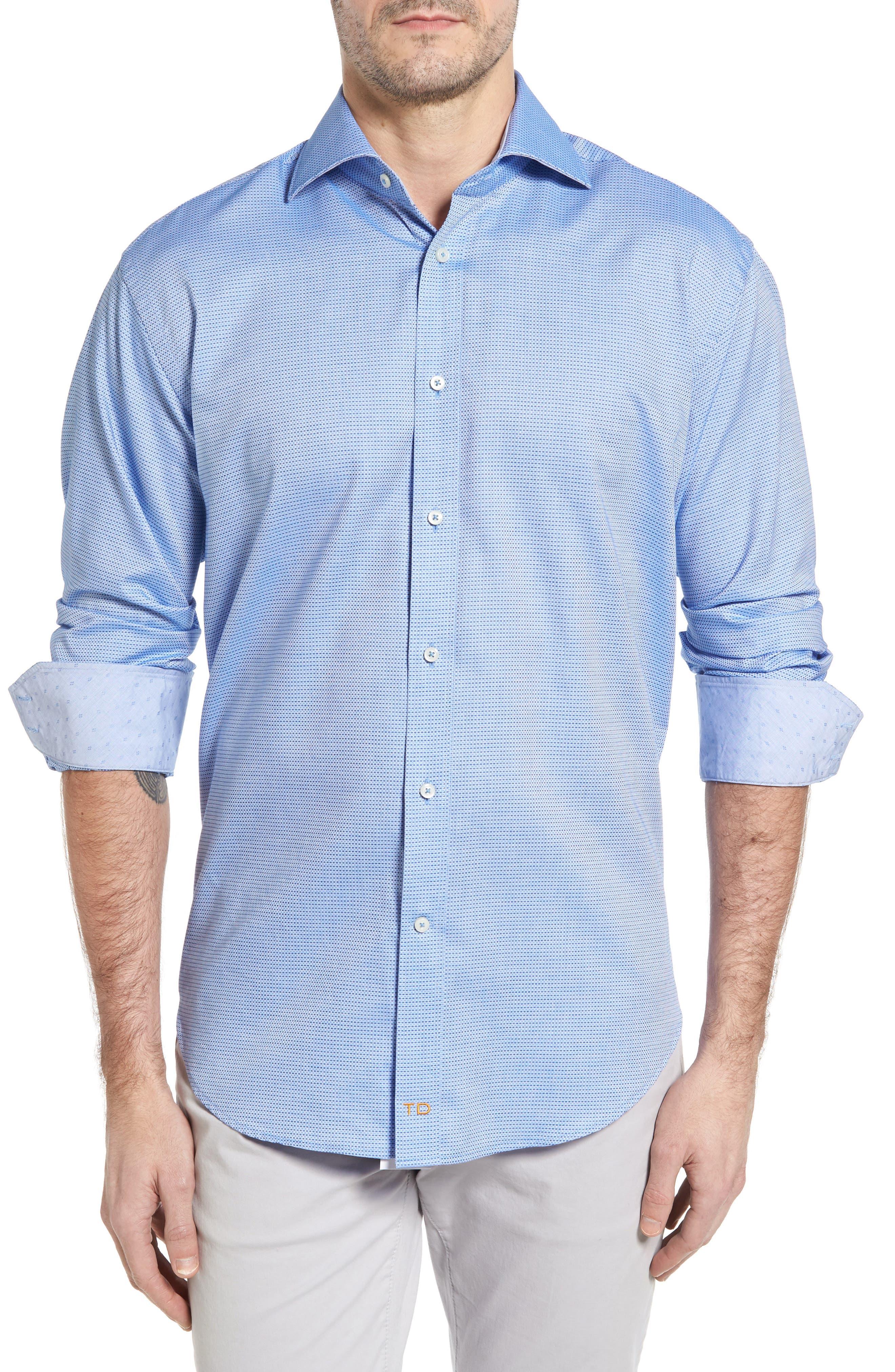 Thomas Dean Classic Fit Textured Check Sport Shirt (Regular)