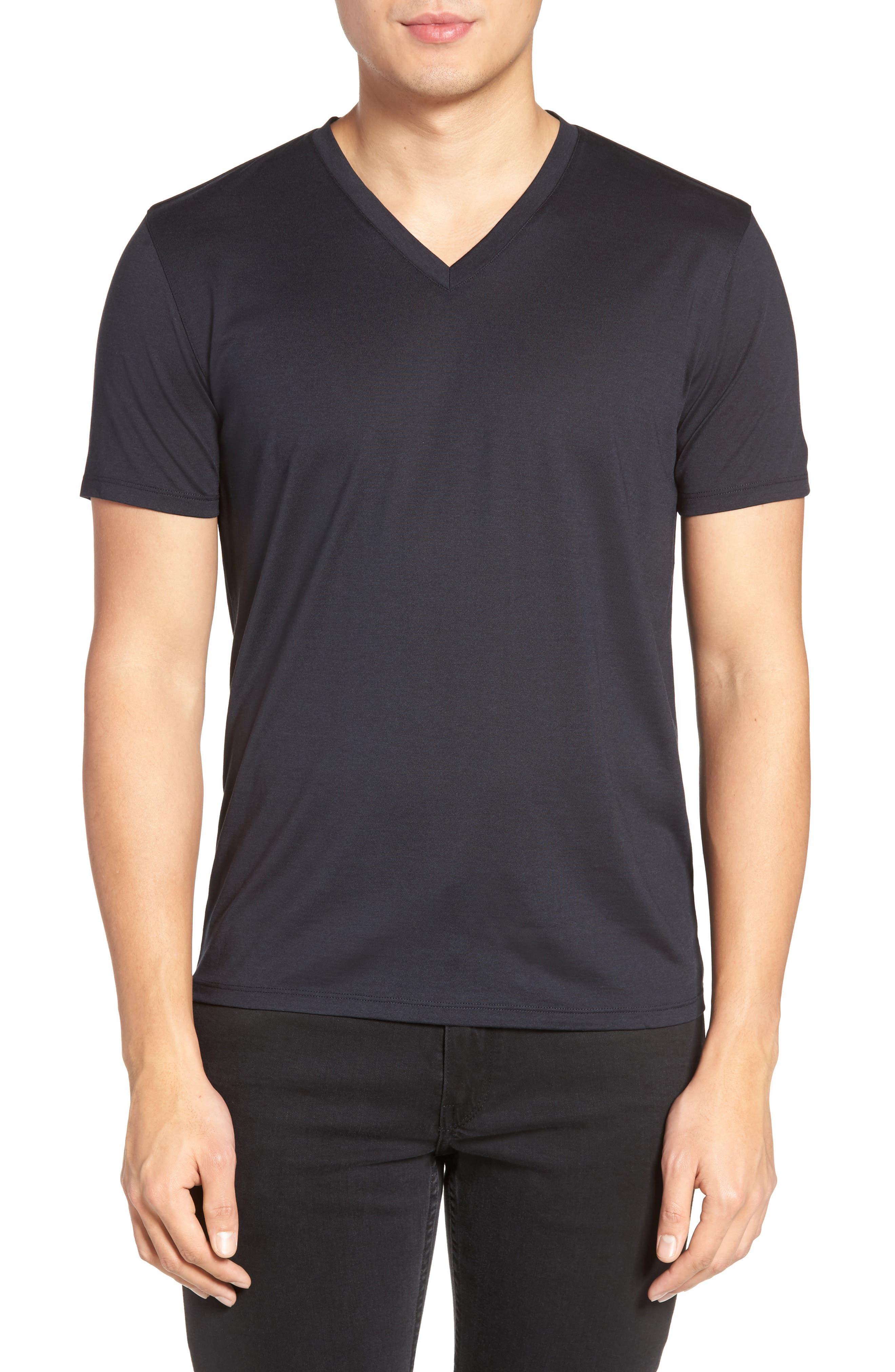 Theory Silk & Cotton V-Neck T-Shirt