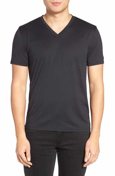 Theory Silk   Cotton V-Neck T-Shirt