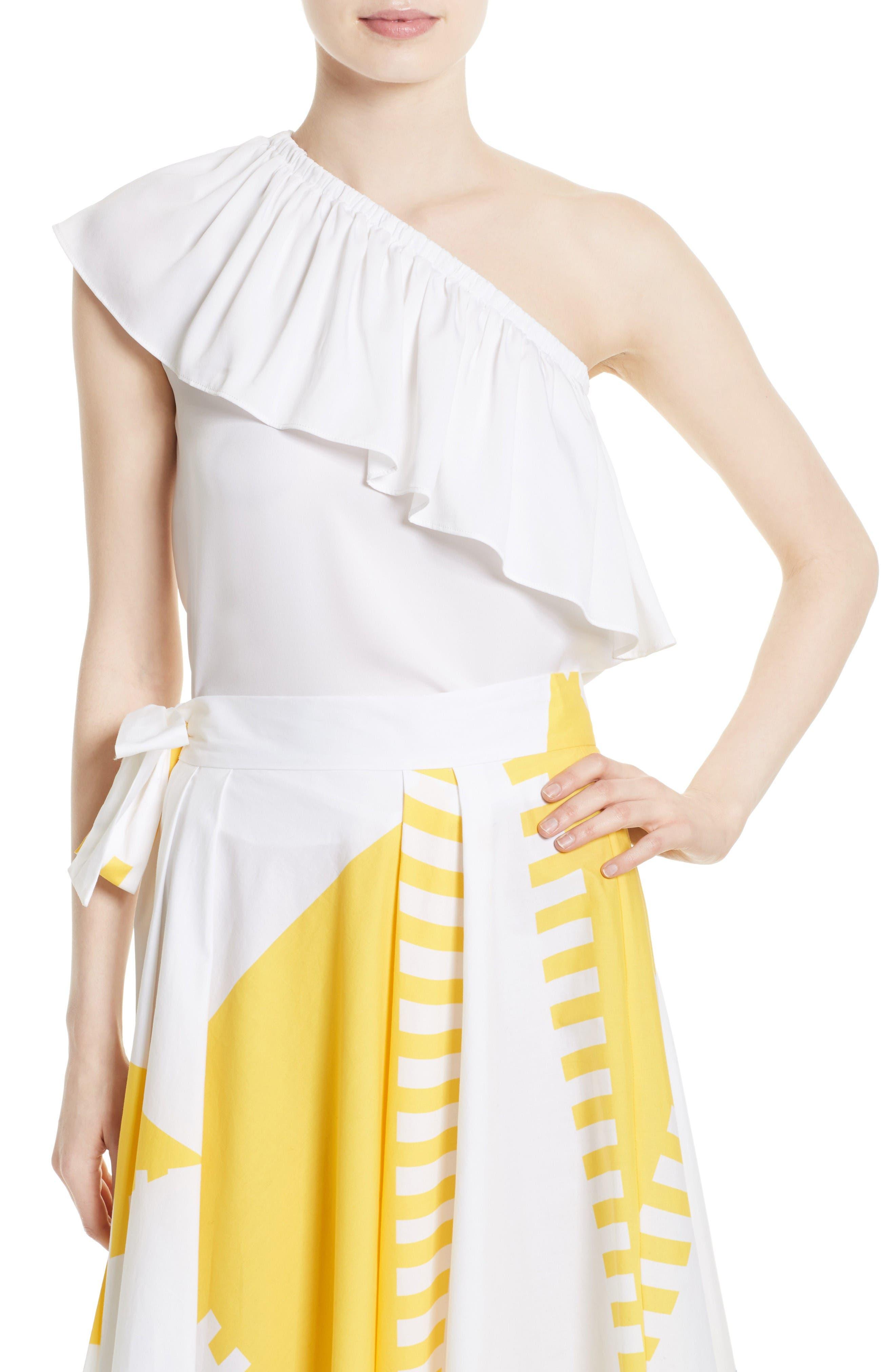 Milly One-Shoulder Silk Blend Top