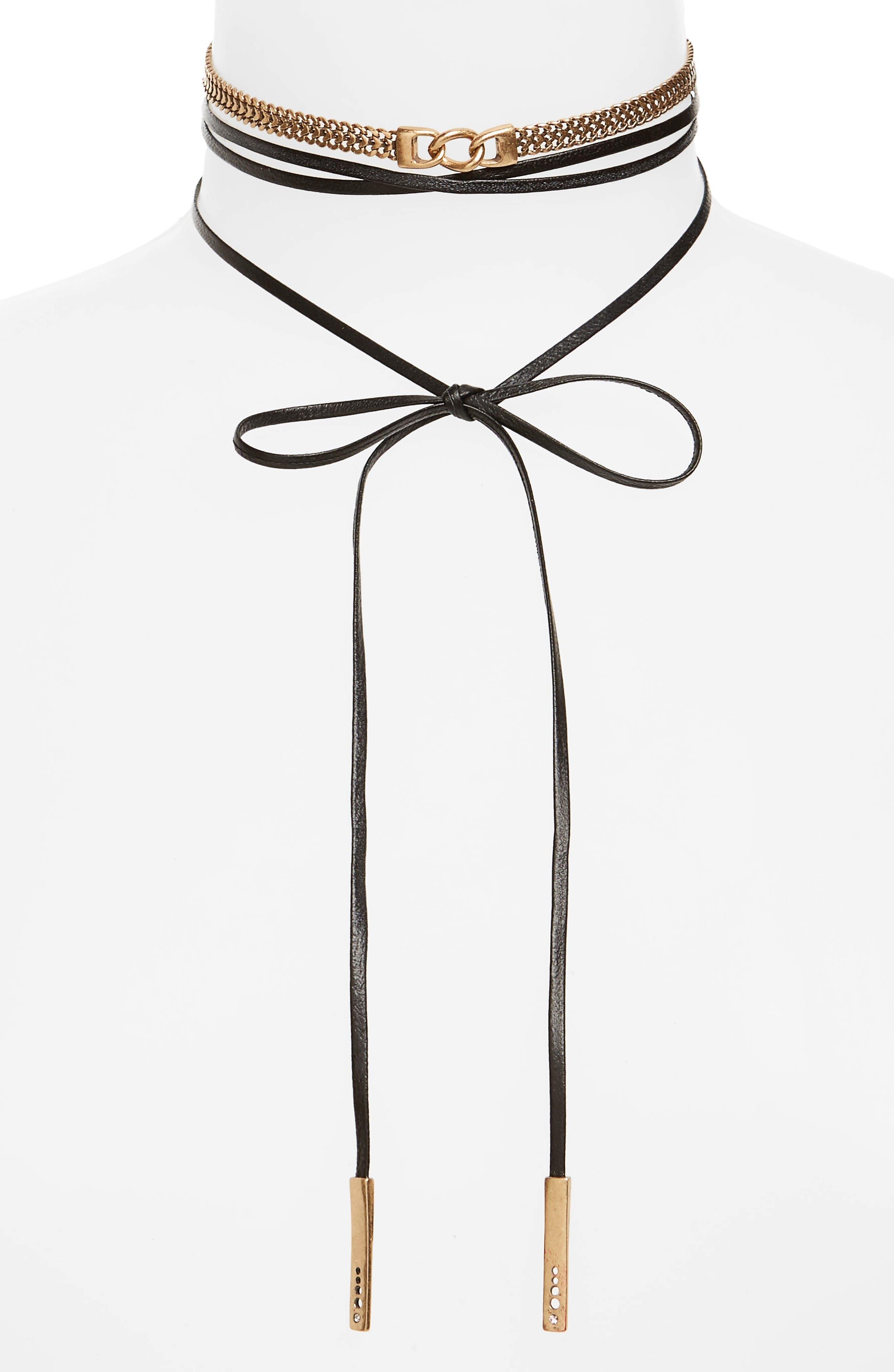 Treasure & Bond Leather & Chain Wrap Choker