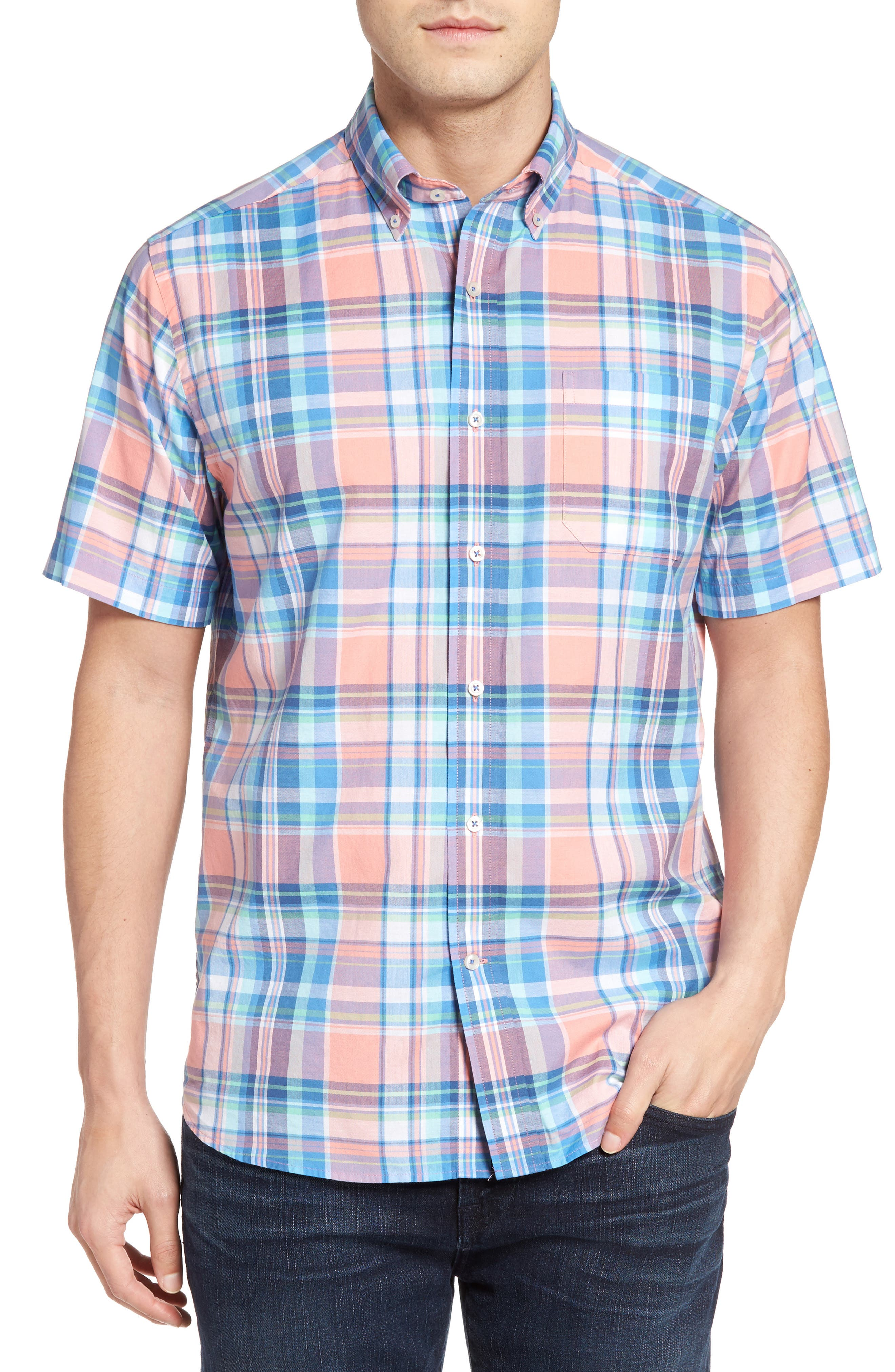 Southern Tide Ocean Boulevard Classic Fit Plaid Short Sleeve Sport Shirt