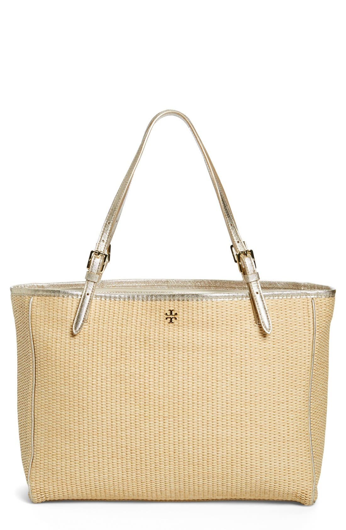 Main Image - Tory Burch 'York' Straw Buckle Tote