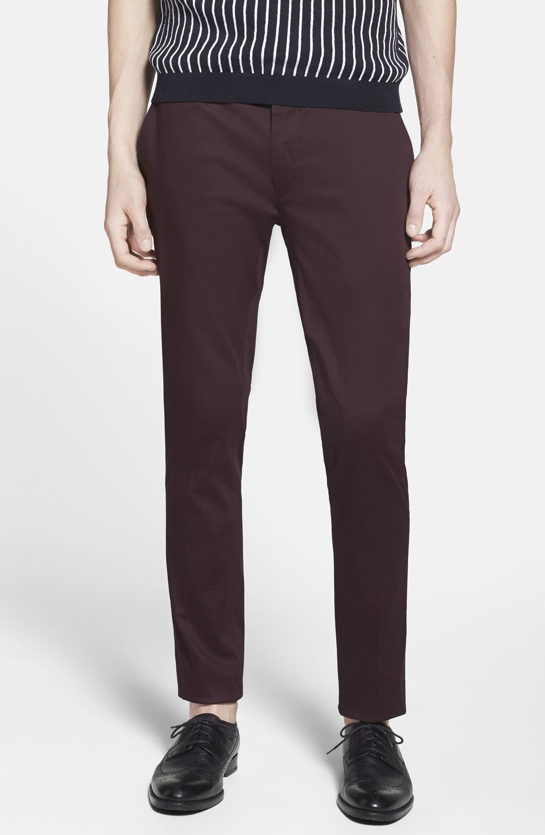 Alternate Image 1 Selected - Topman Ultra Skinny Fit Cotton Blend Trousers (Brit Pop-In)