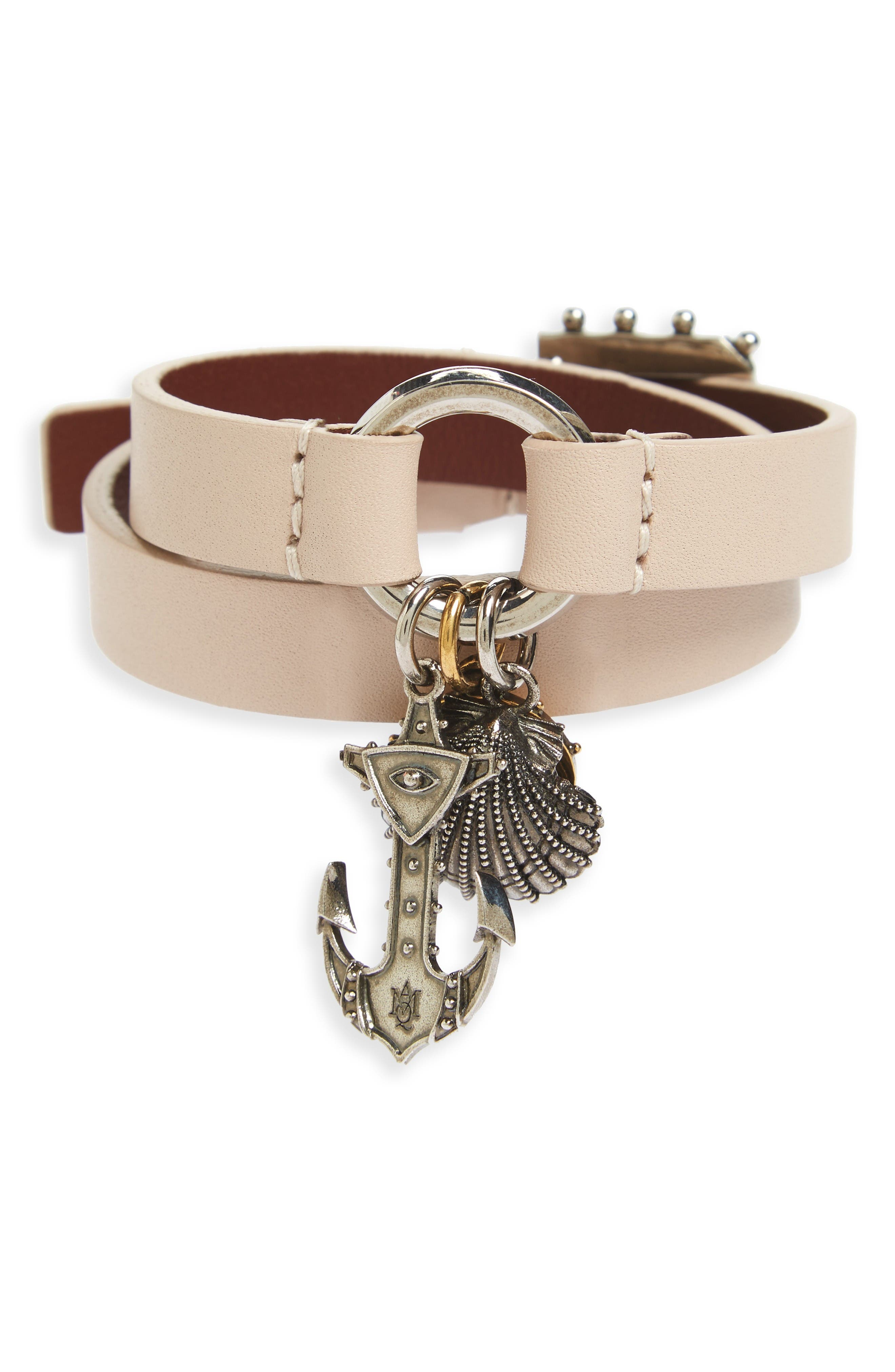Alexander McQueen Marine Leather Wrap Bracelet