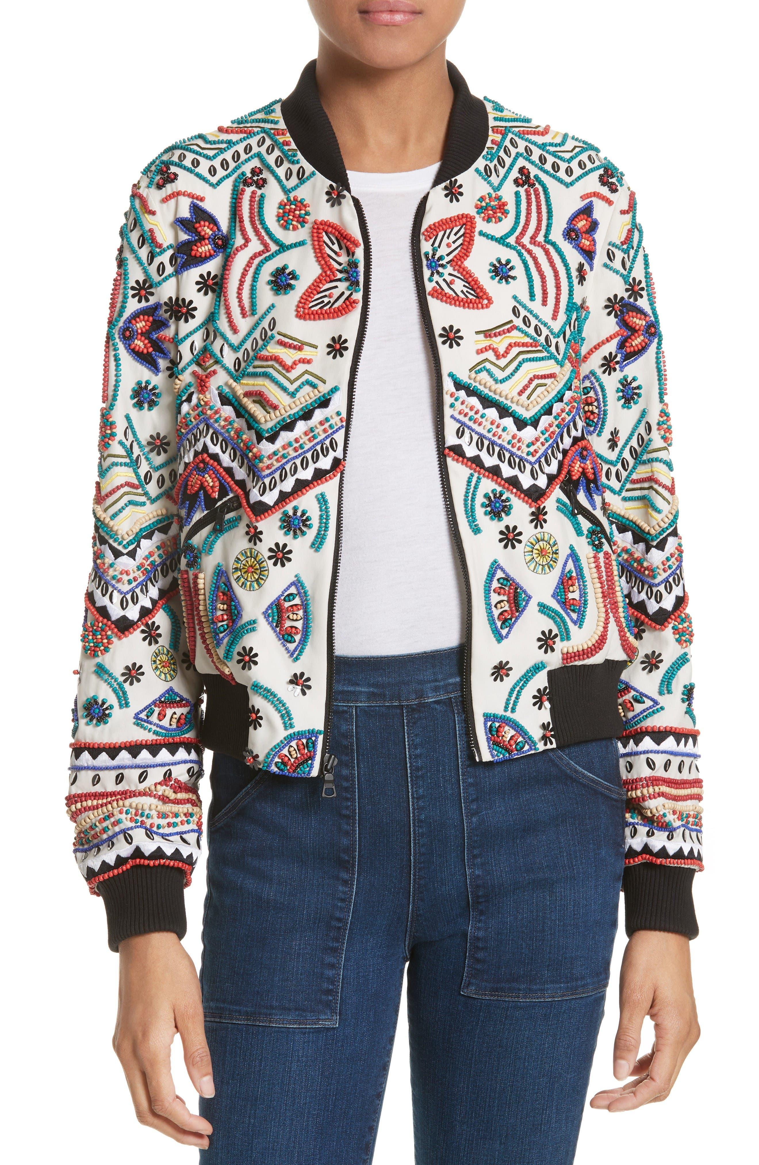 Alice + Olivia Lonnie Embellished Silk Bomber Jacket