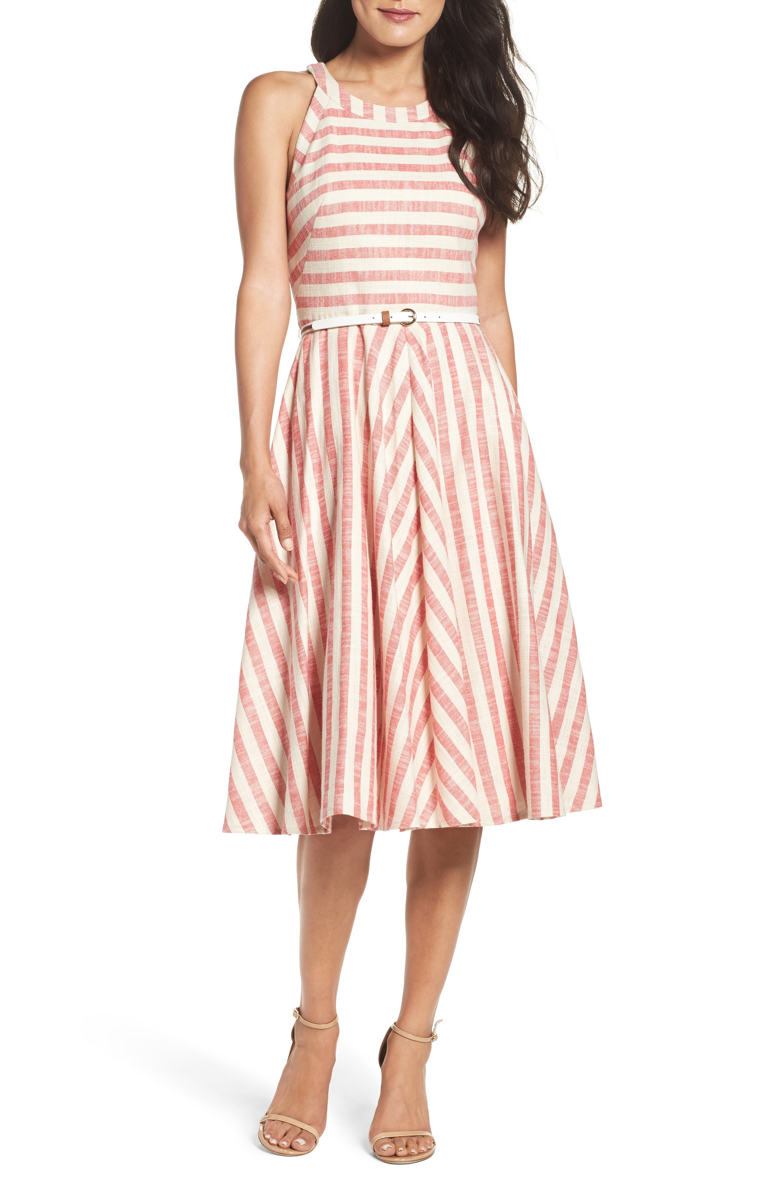 Alternate Image 1 Selected - Eliza J Stripe Fit & Flare Midi Dress