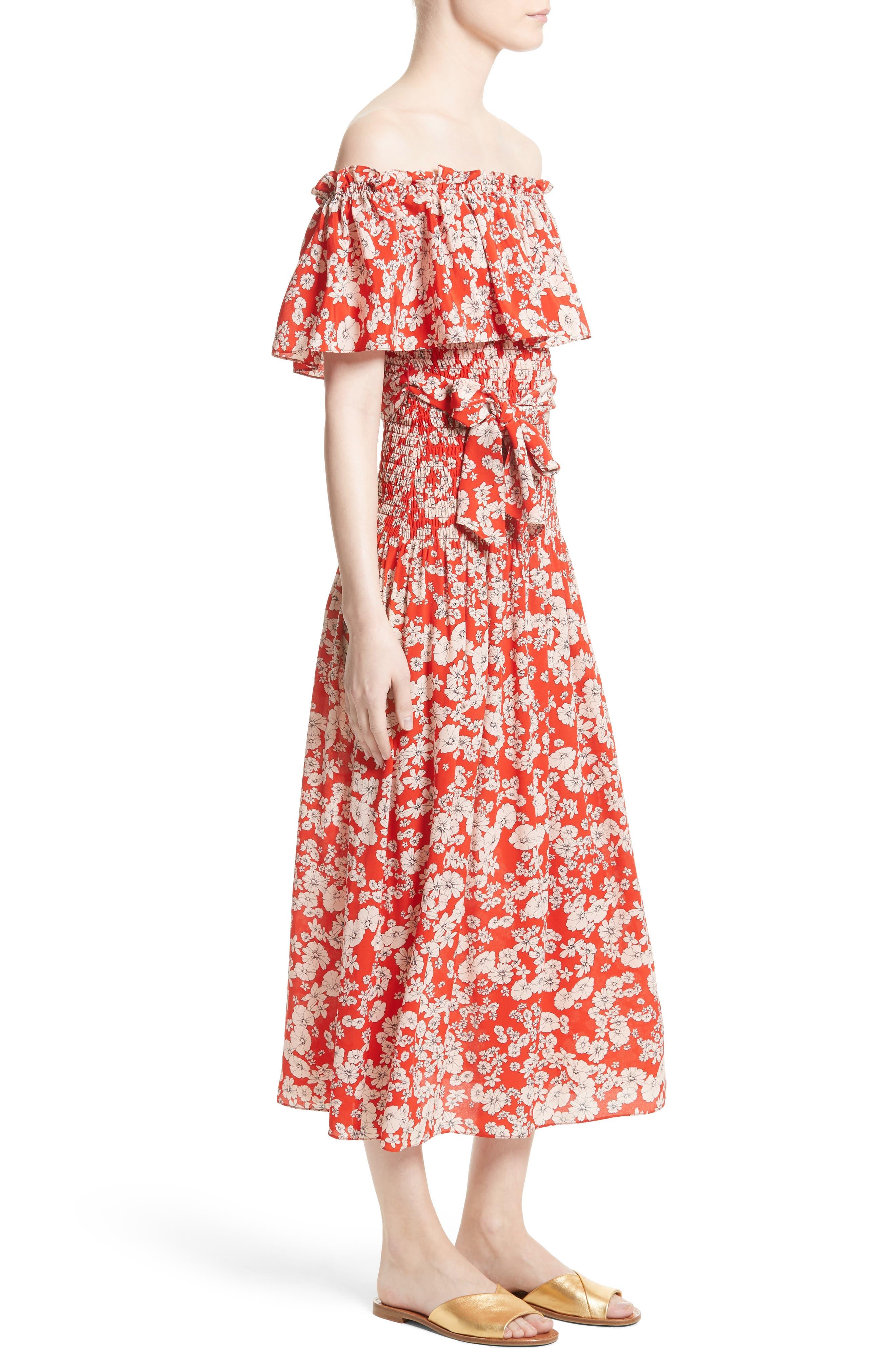 Alternate Image 3  - Rebecca Taylor Cherry Blossom Silk Off the Shoulder Dress