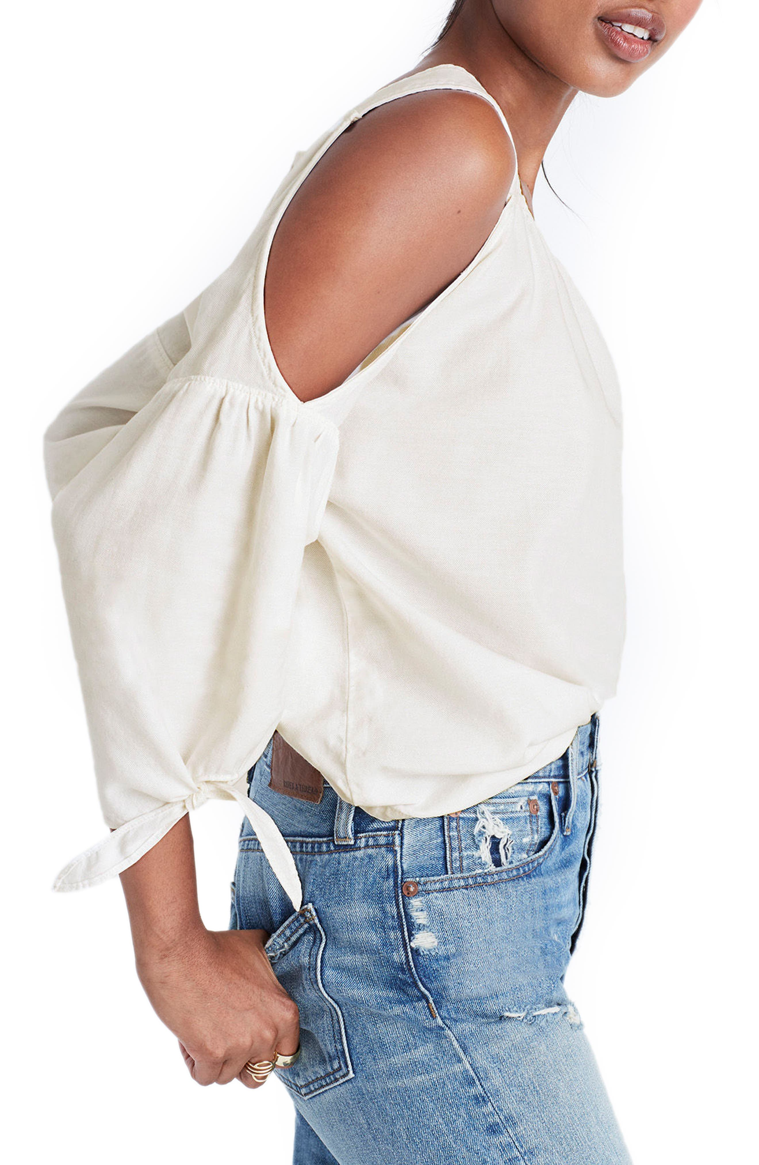 Alternate Image 3  - Madewell Cotton Cold Shoulder Blouse
