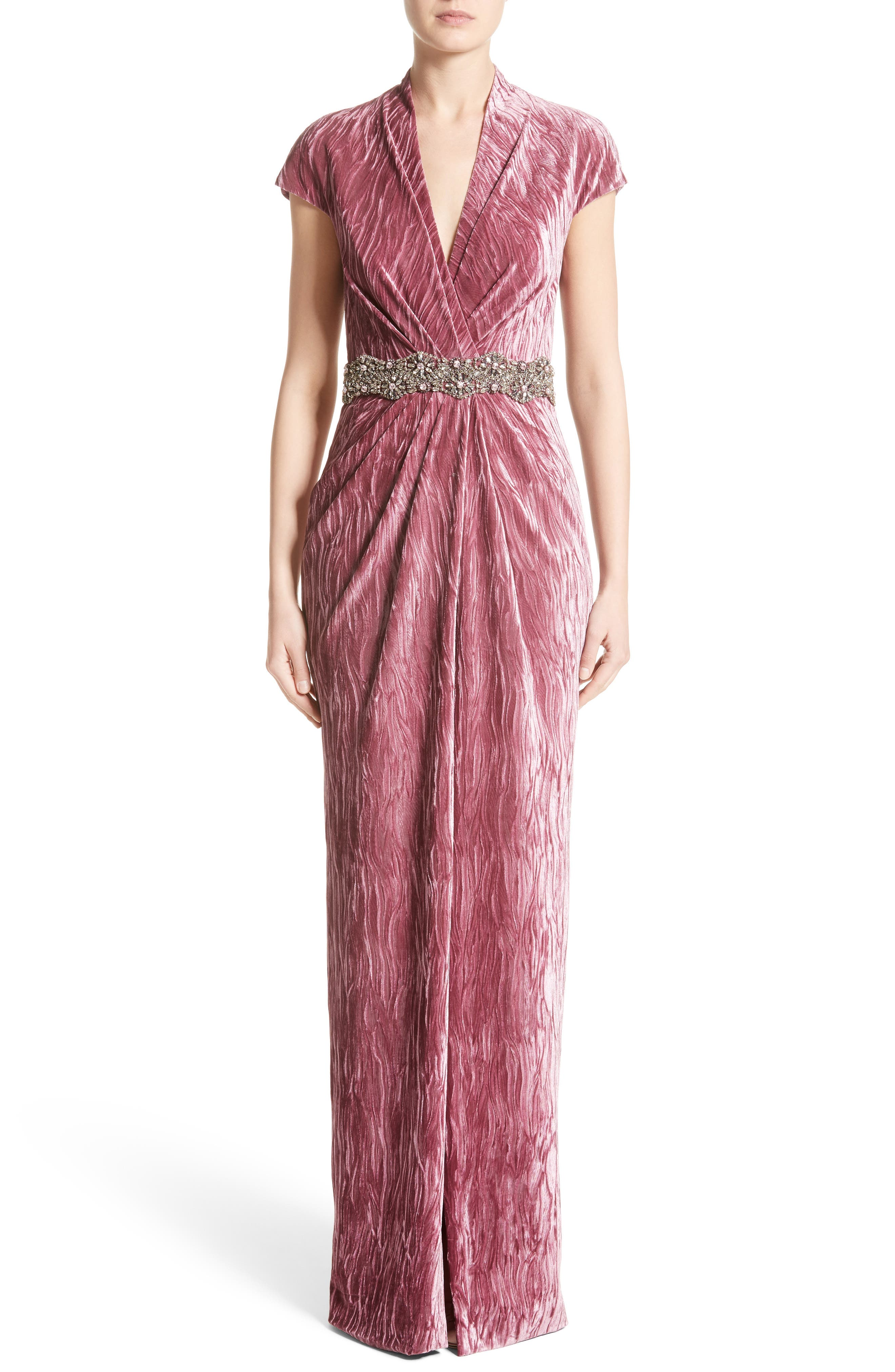 Alternate Image 1 Selected - Badgley Mischka Couture Beaded Belt Faux Wrap Gown (Nordstrom Exclusive)