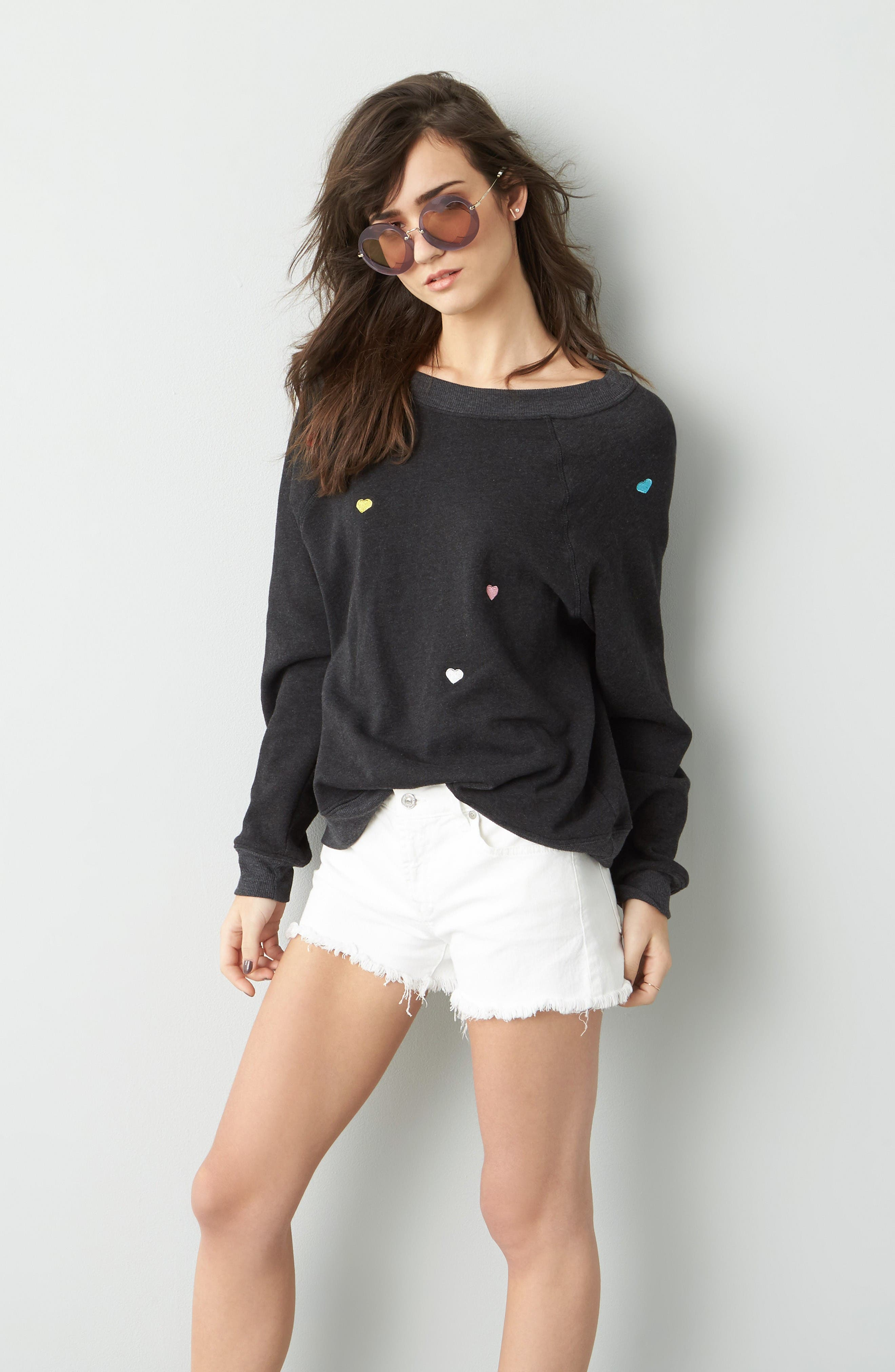 Alternate Image 2  - Wildfox Sommers Sweater - Heart Embroidered Pullover