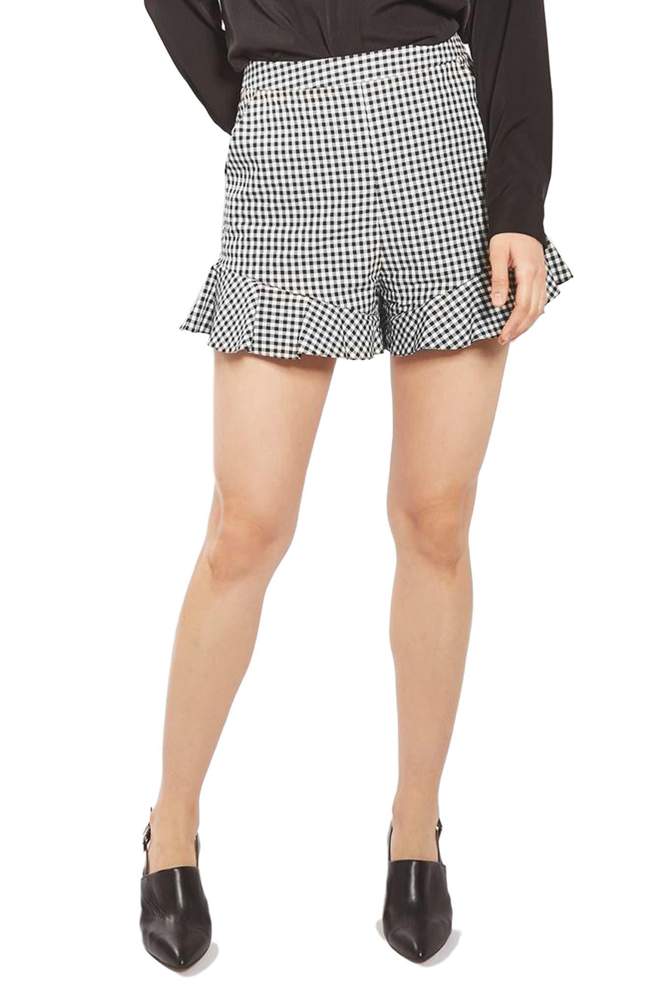 Main Image - Topshop Gingham Frill Shorts