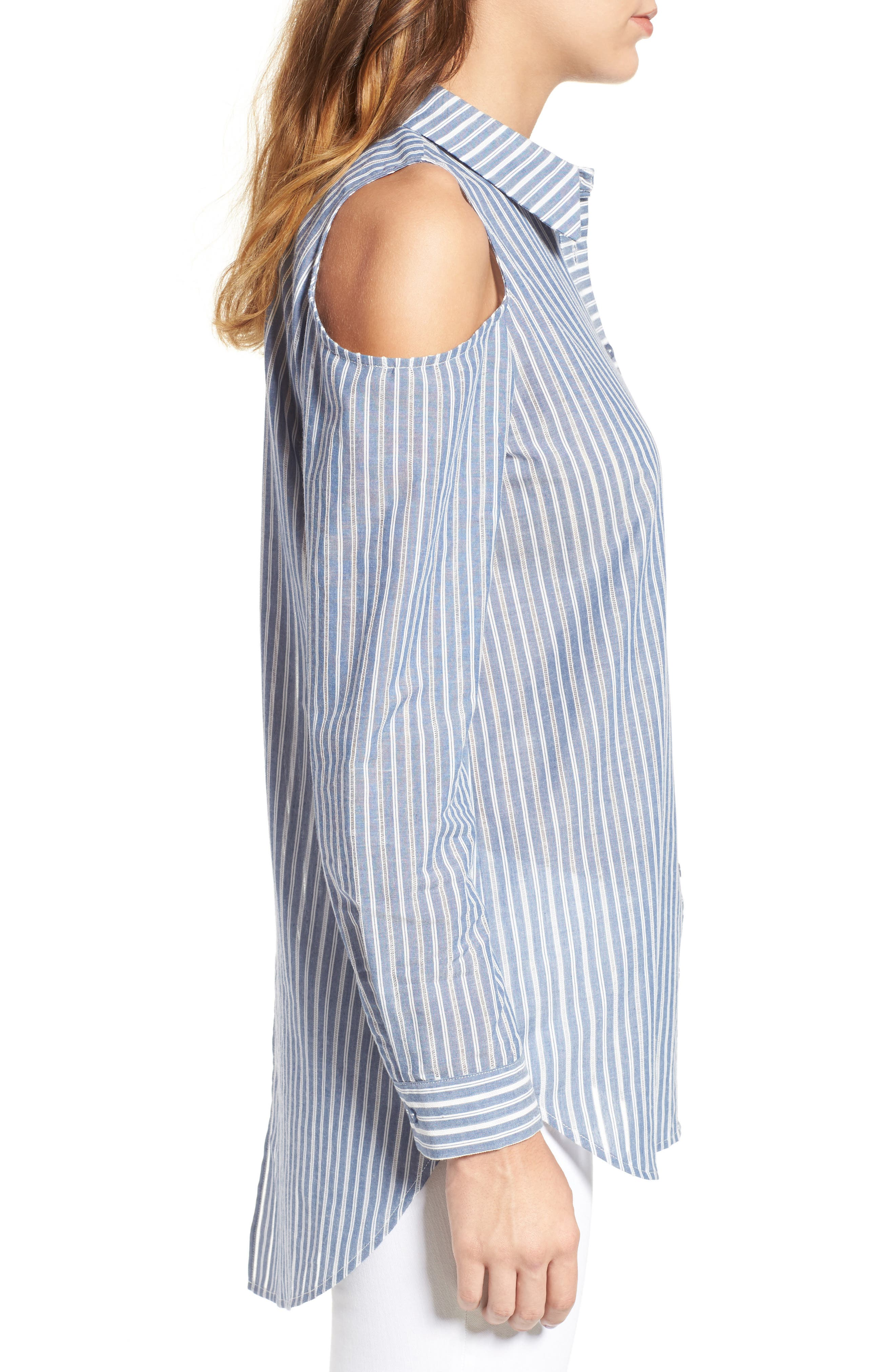 Alternate Image 3  - Pleione Cold Shoulder Stripe Jacquard Shirt (Regular & Petite)