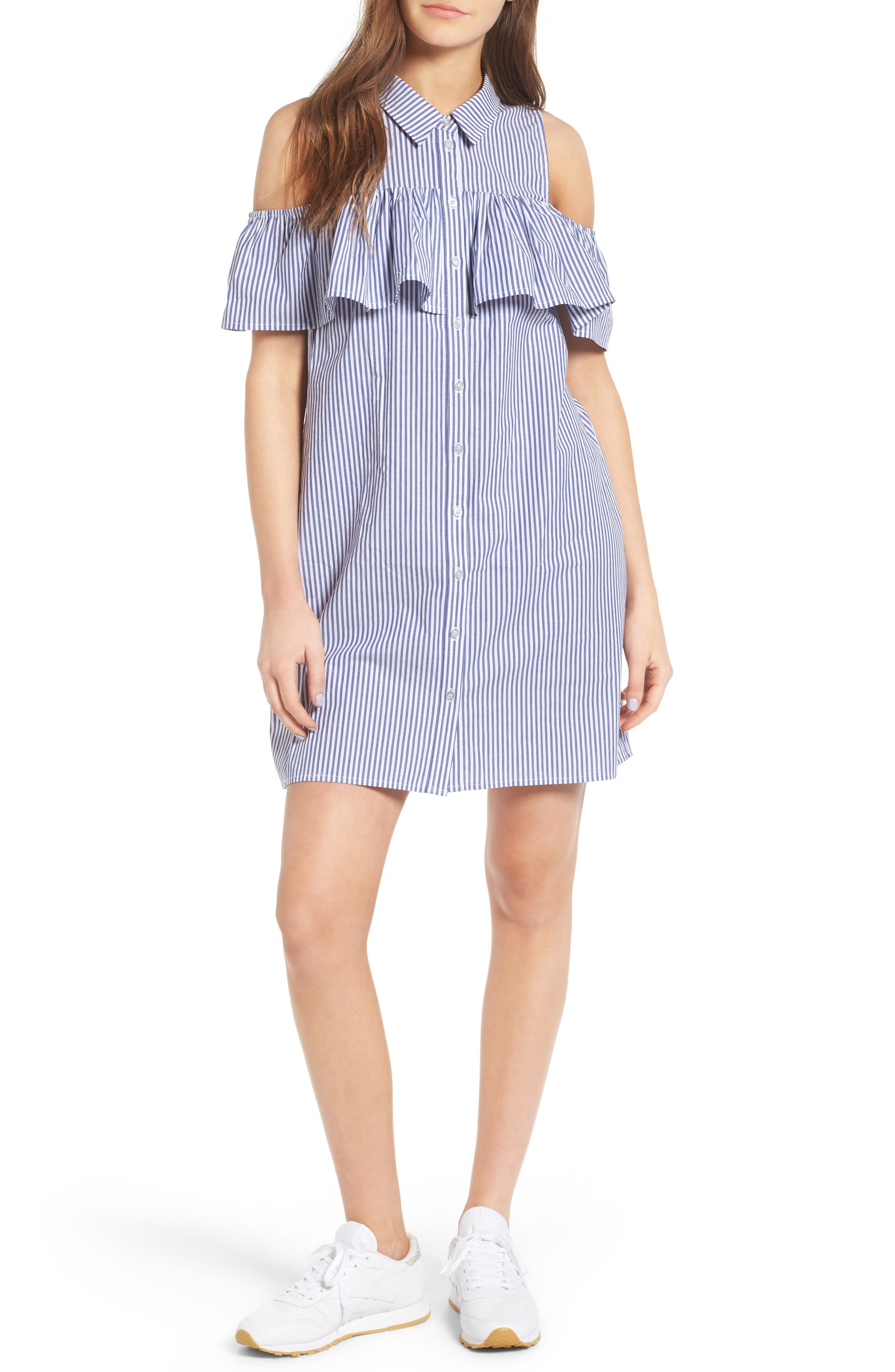 Fire Stripe Cold Shoulder Shirtdress
