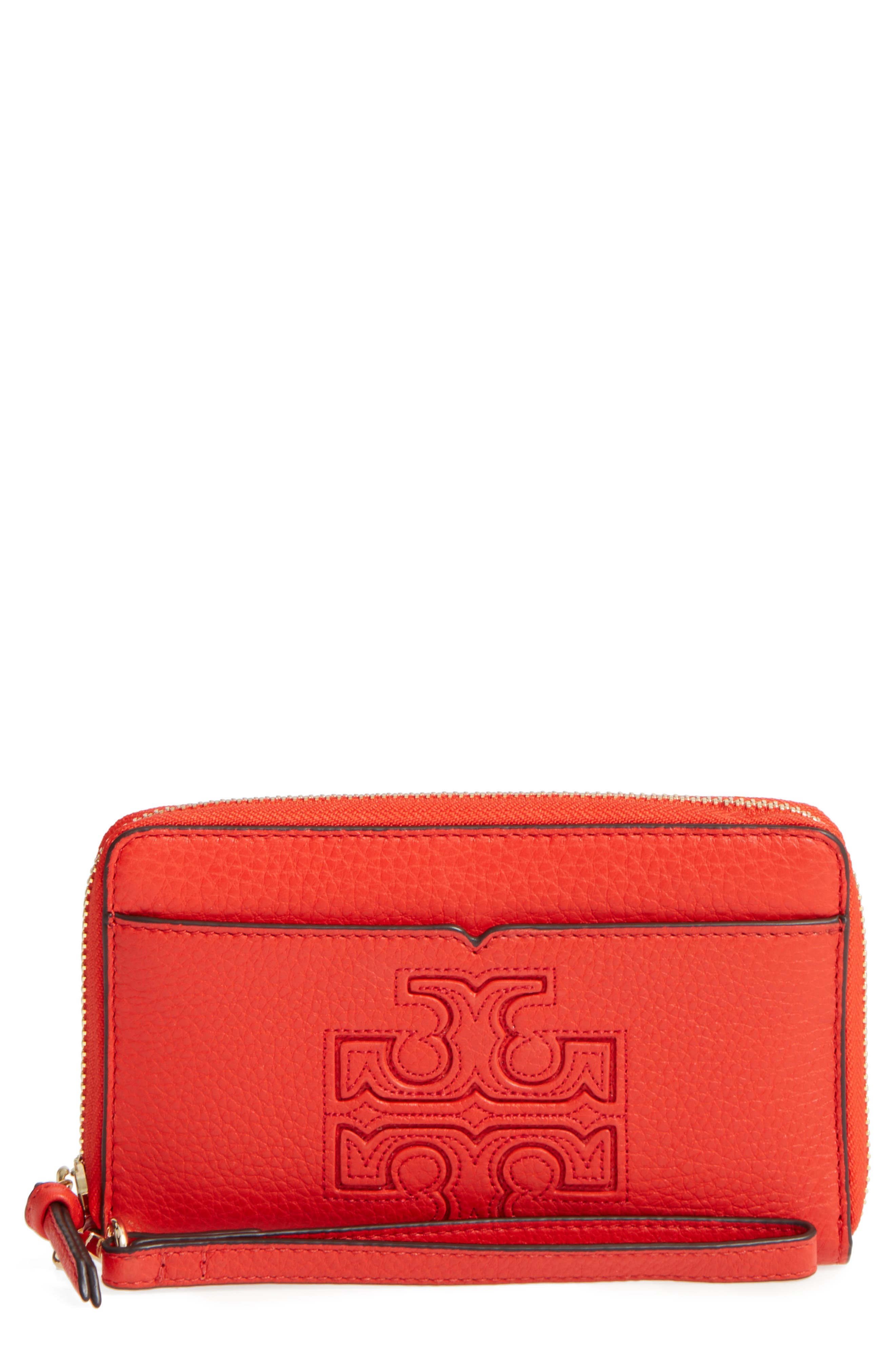 Alternate Image 1 Selected - Tory Burch Harper Leather iPhone 6/6s Wristlet