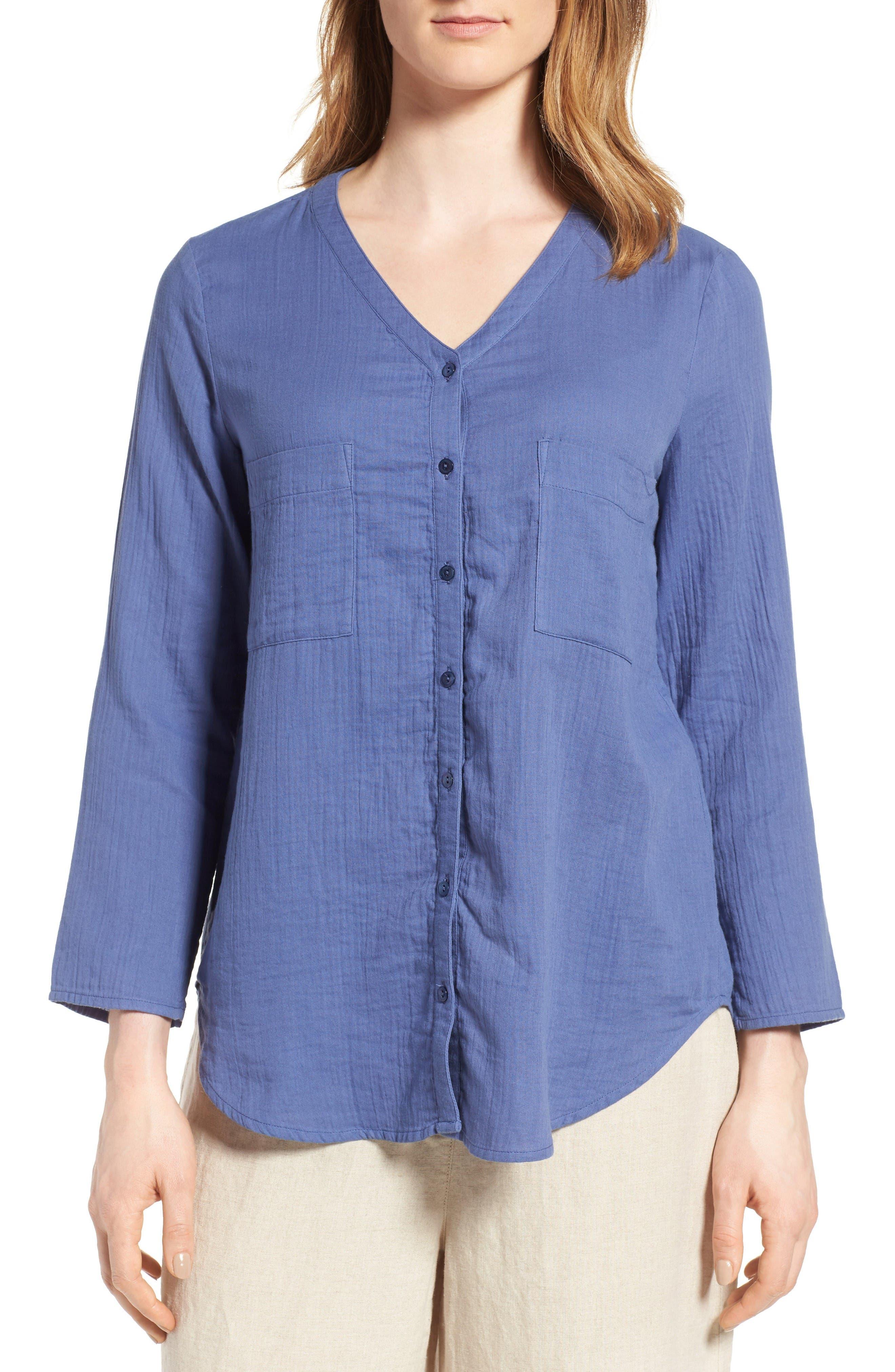 Eileen Fisher Organic Cotton Blouse (Regular & Petite)