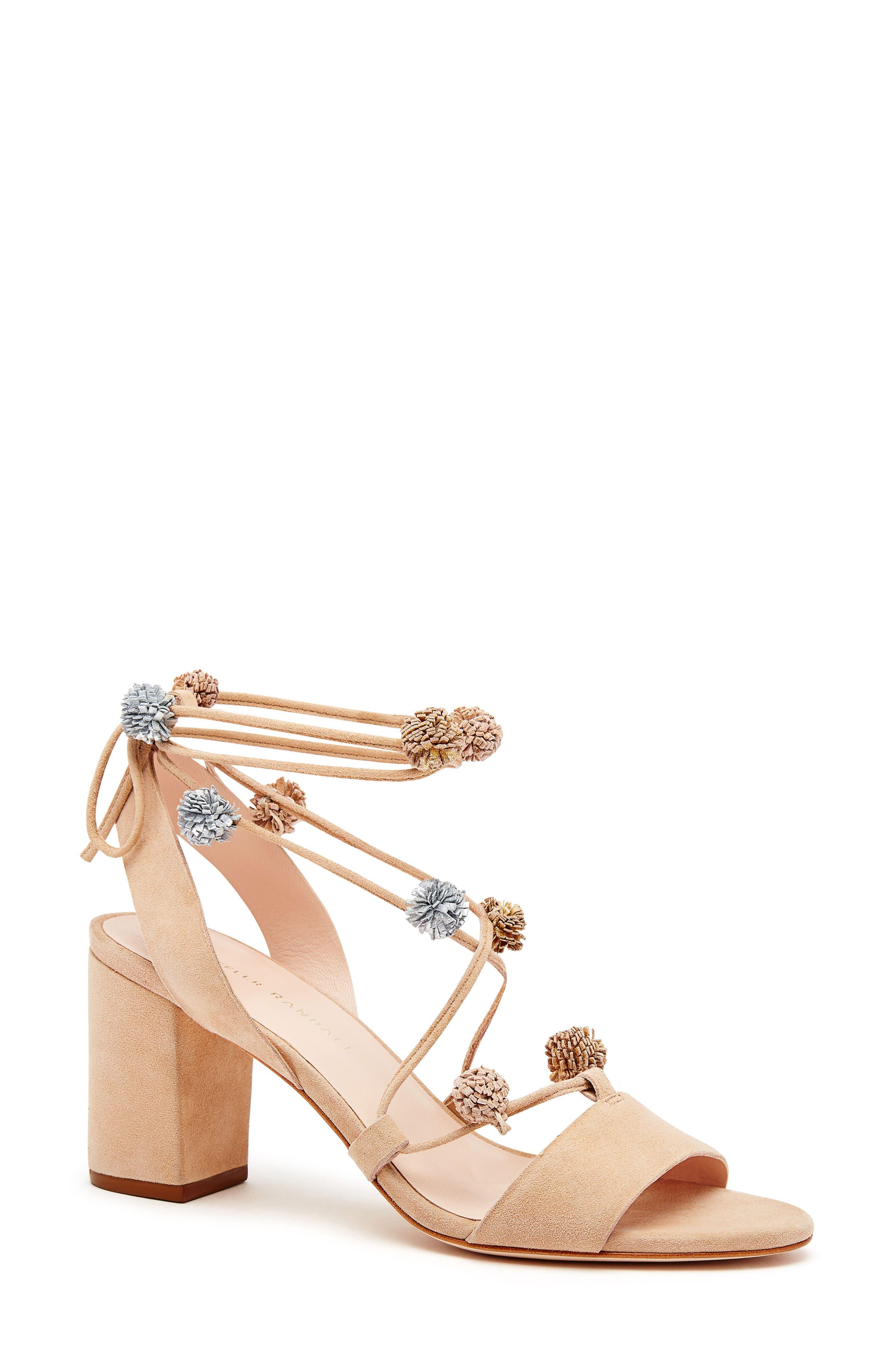 Loeffler Randall Bea Pompom Lace-Up Sandal (Women)