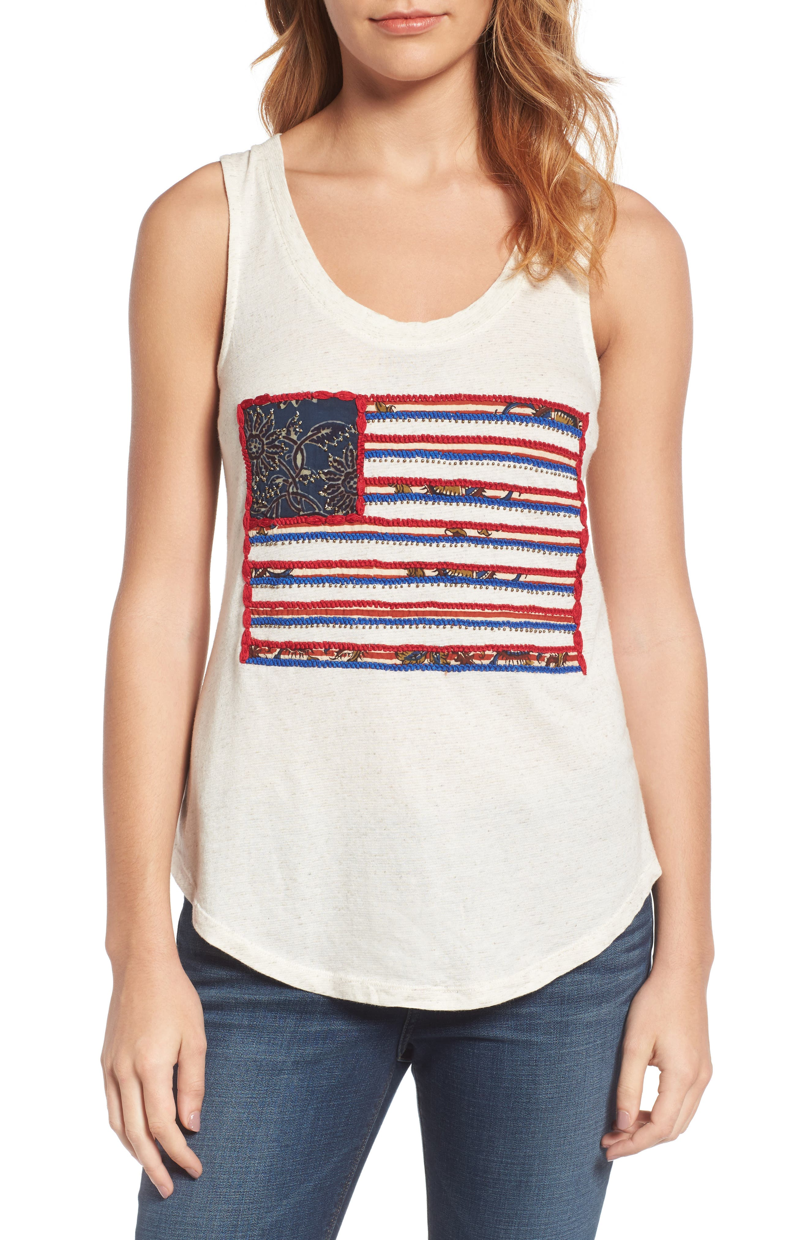 Lucky Brand Flag Patch Tank