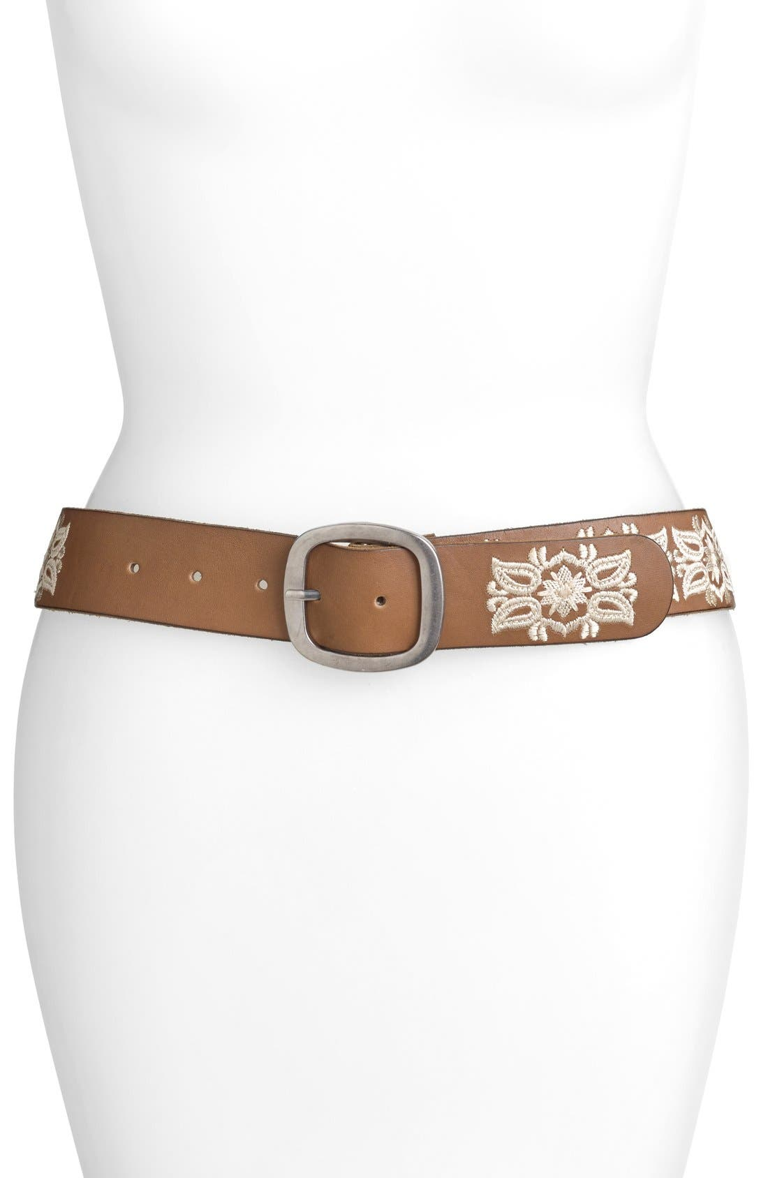Alternate Image 1 Selected - Lucky Brand Embroidered Floral Belt
