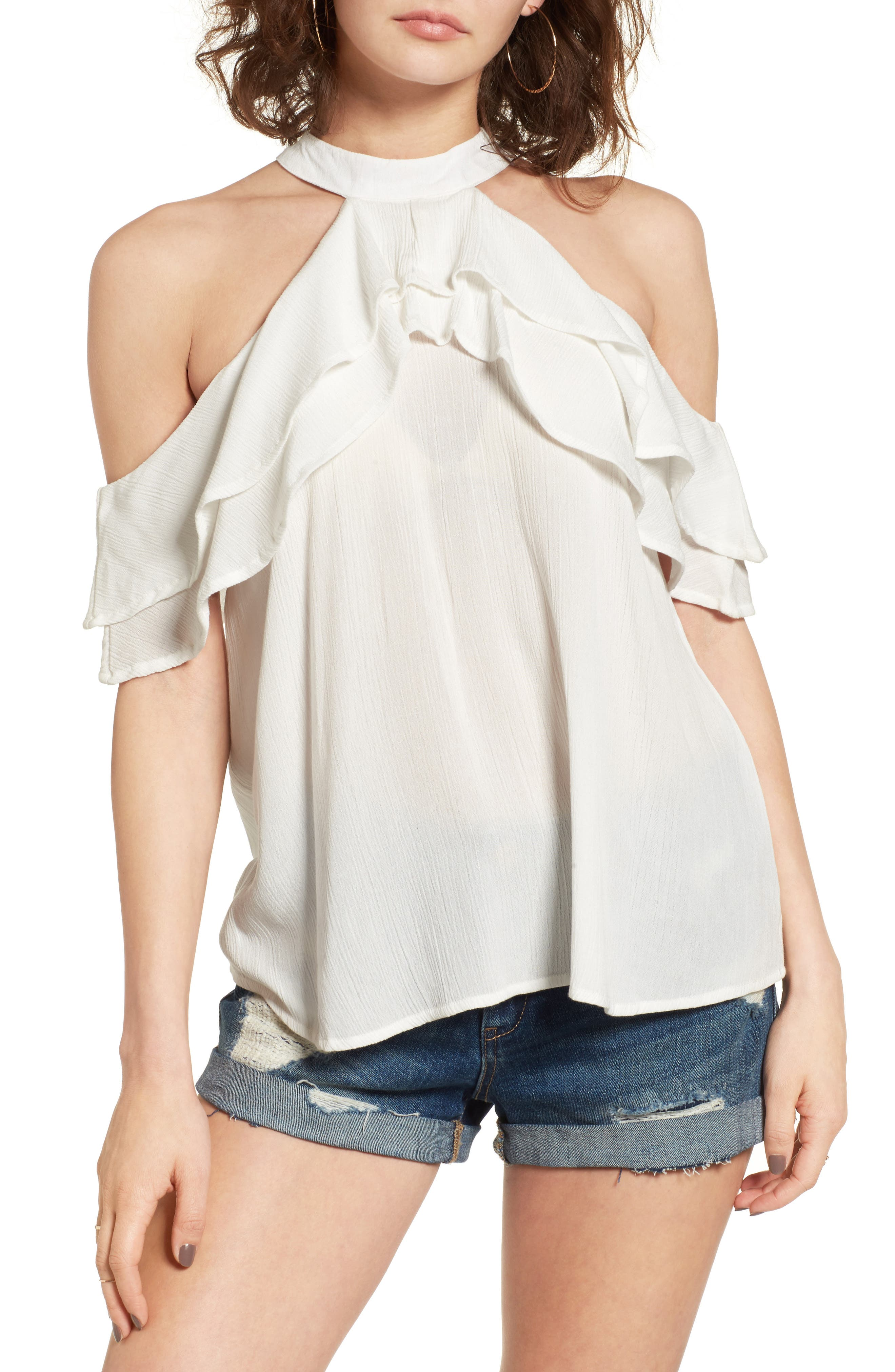 Alternate Image 1 Selected - Band of Gypsies Ruffle Cold Shoulder Blouse