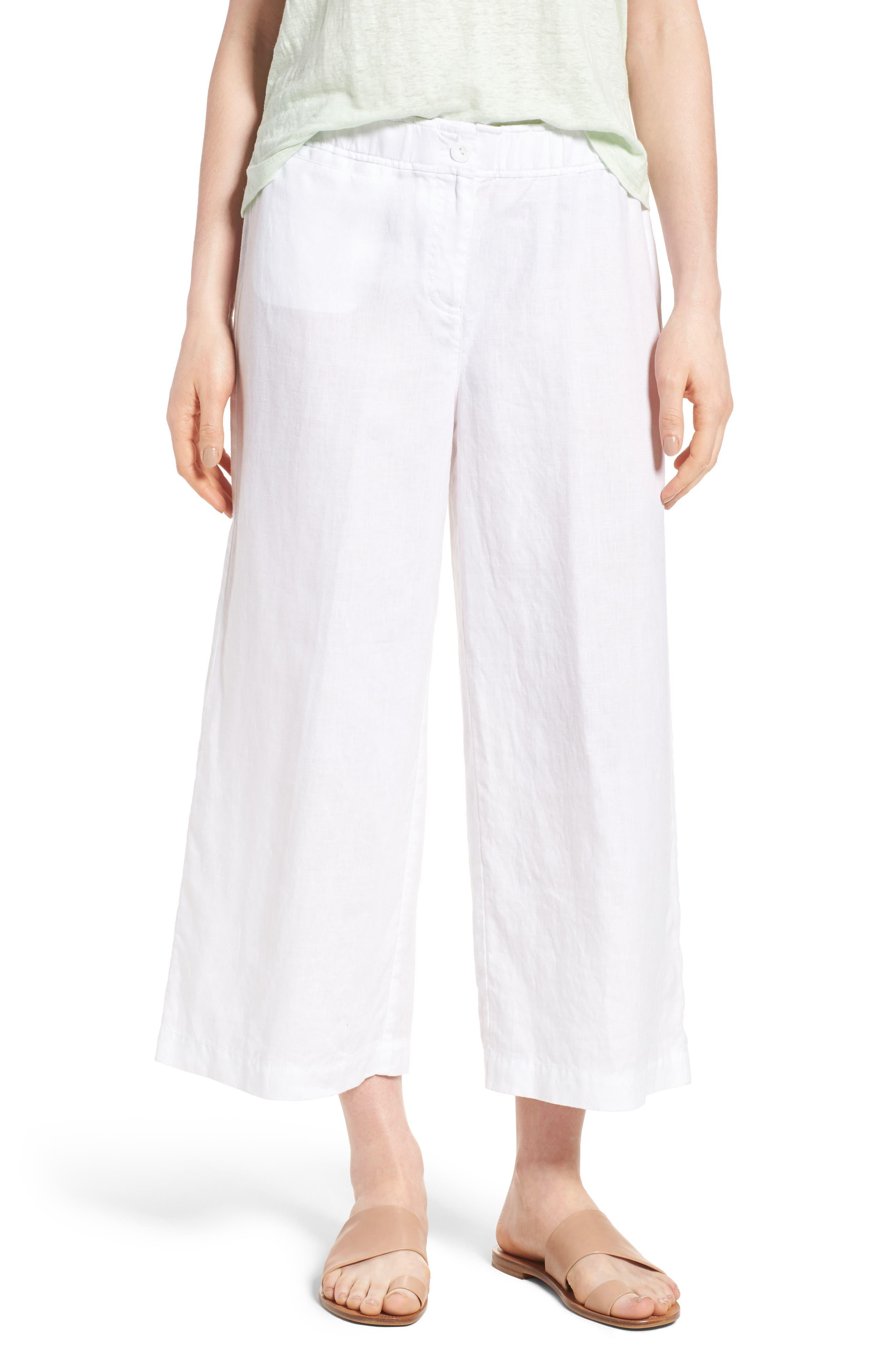 Alternate Image 1 Selected - Eileen Fisher Organic Linen Crop Pants