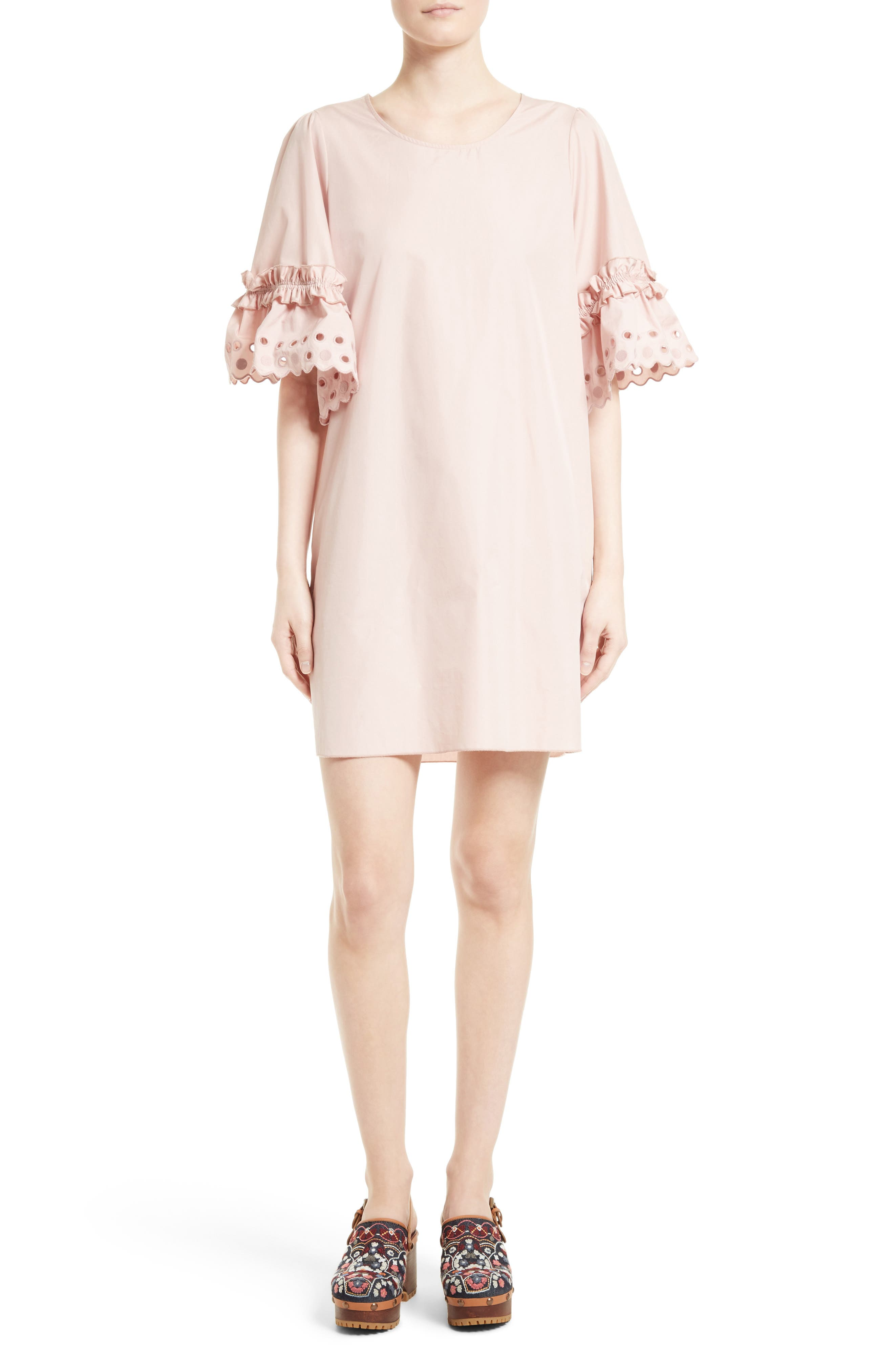 See by Chloé Ruffle Eyelet Sleeve Shift Dress