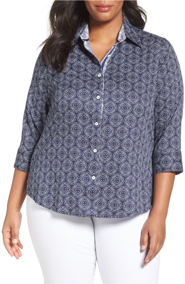 Foxcroft ava non iron print cotton shirt plus size for Ladies non iron shirts