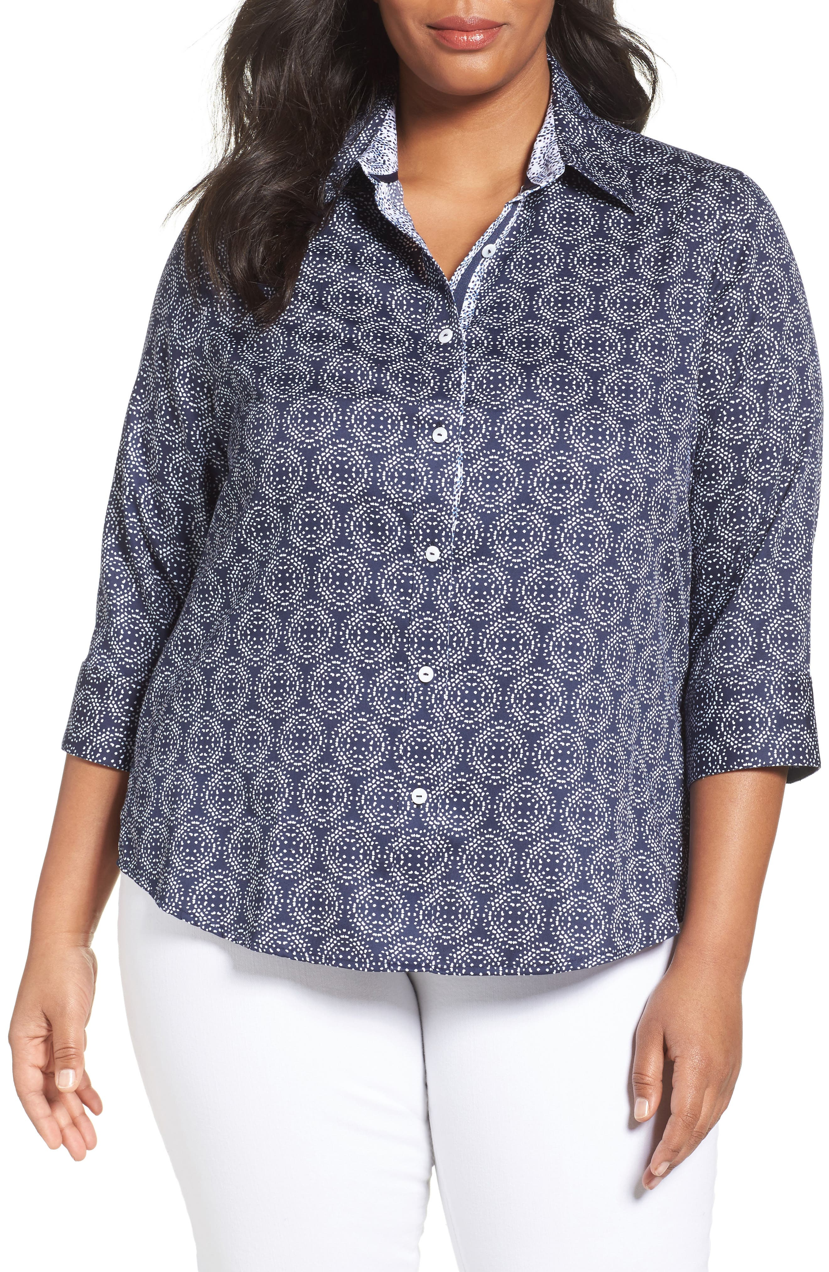 Foxcroft Ava Non-Iron Print Cotton Shirt (Plus Size)