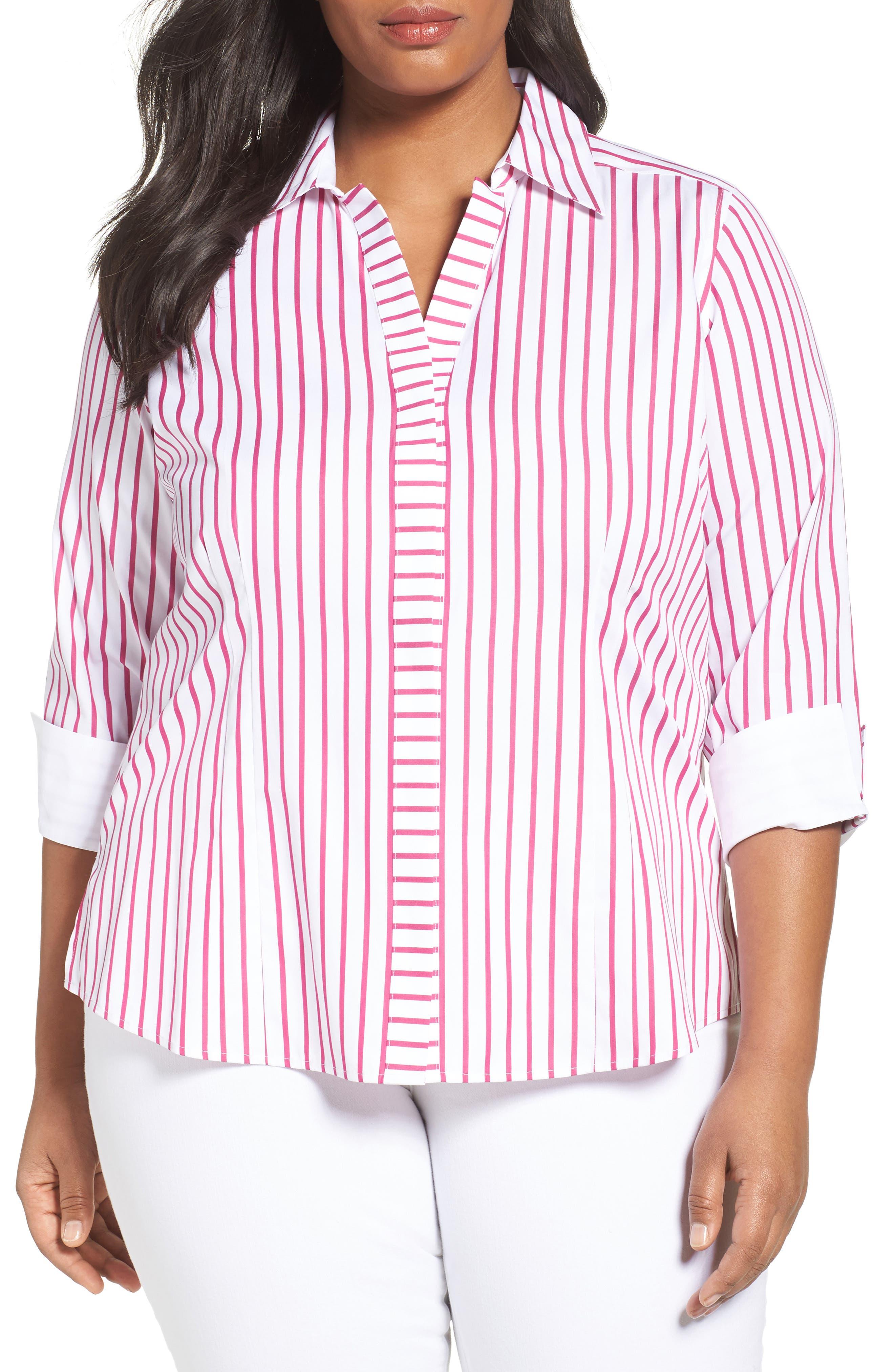 Foxcroft Taylor Non-Iron Stripe Cotton Shirt (Plus Size)