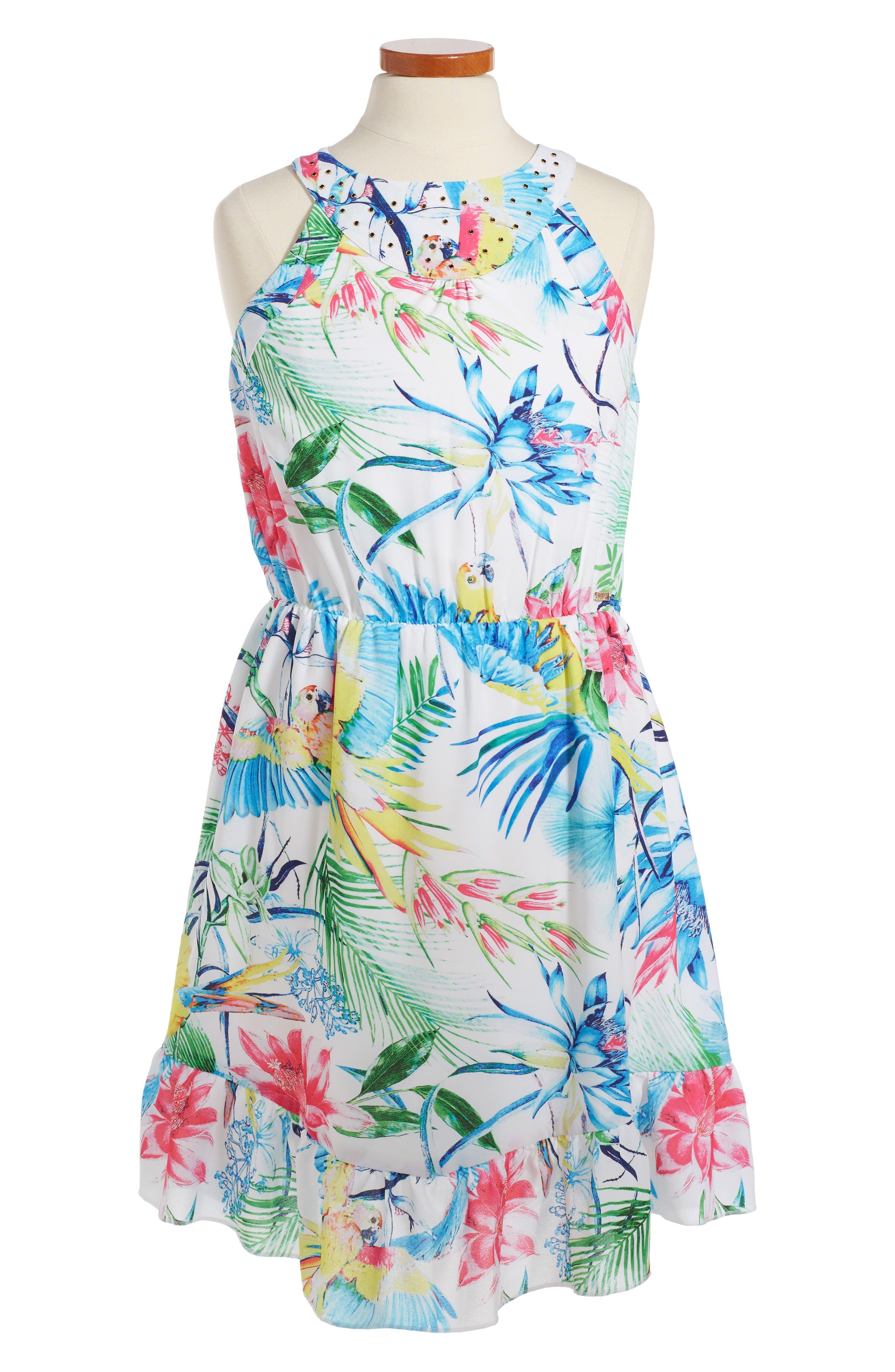 Marciano Tropical Print Sleeveless Dress (Big Girls ...