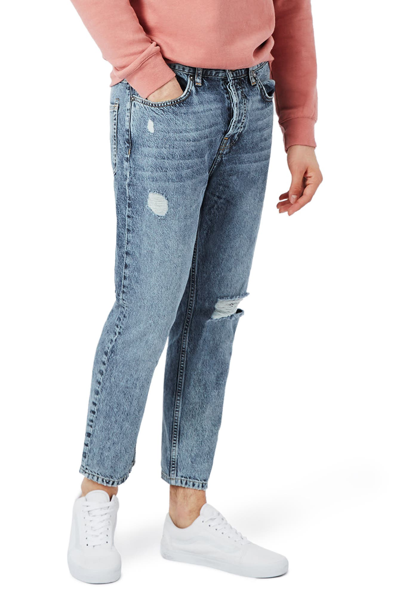 Topman Ripped Tapered Fit Jeans