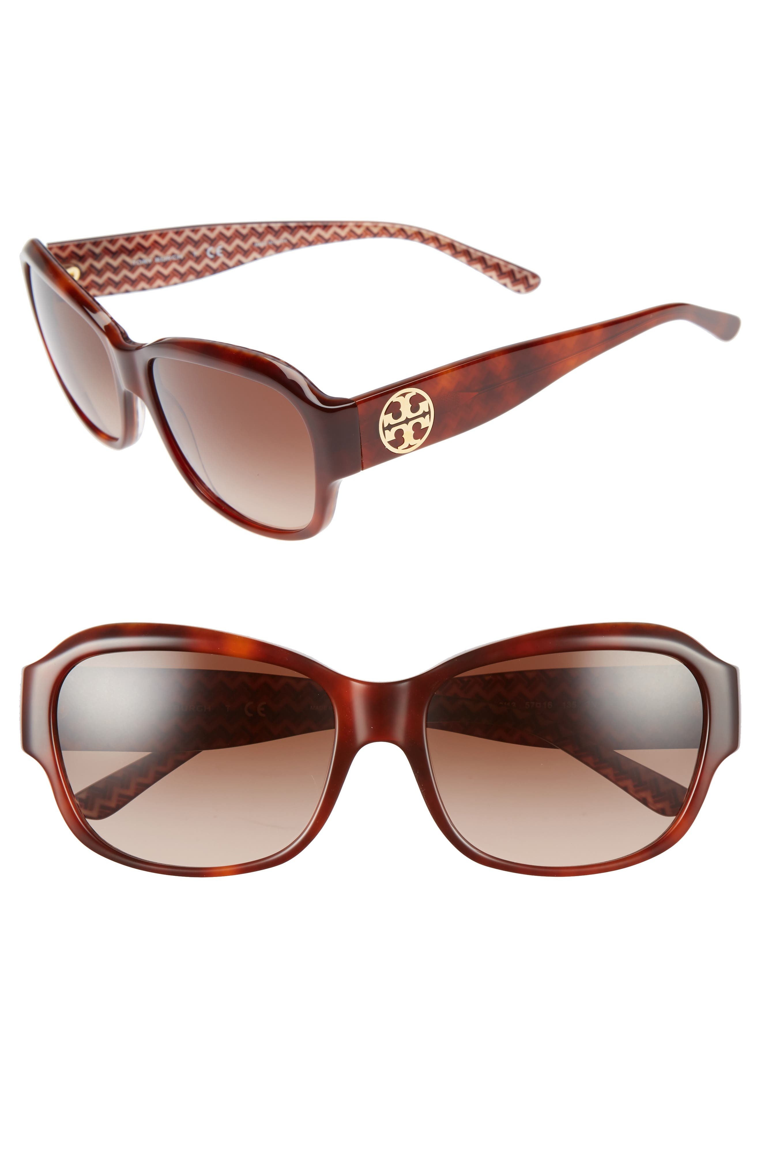 Alternate Image 1 Selected - Tory Burch 57mm Gradient Sunglasses