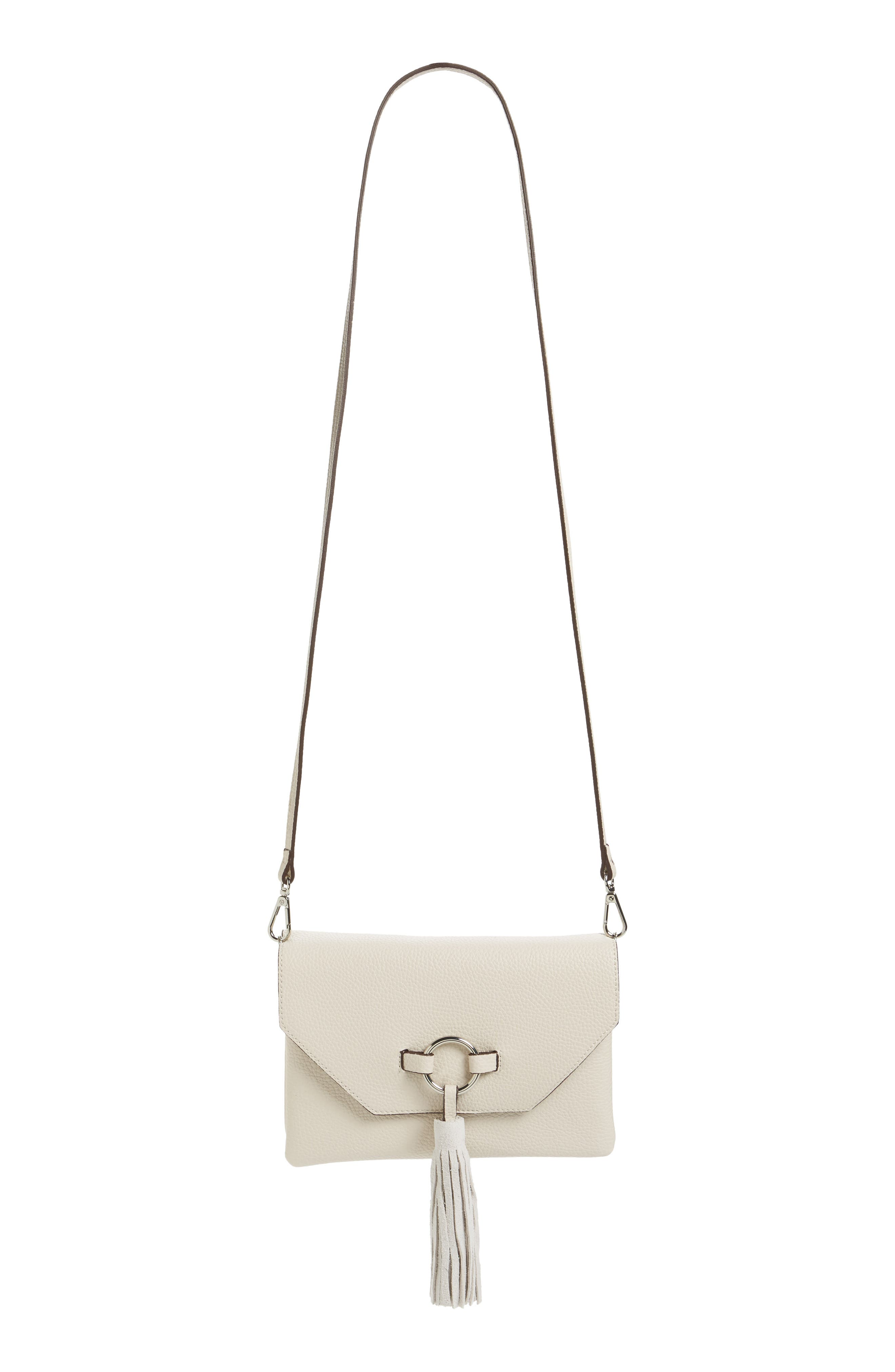 Street Level Ring Tassel Convertible Faux Leather Crossbody Bag