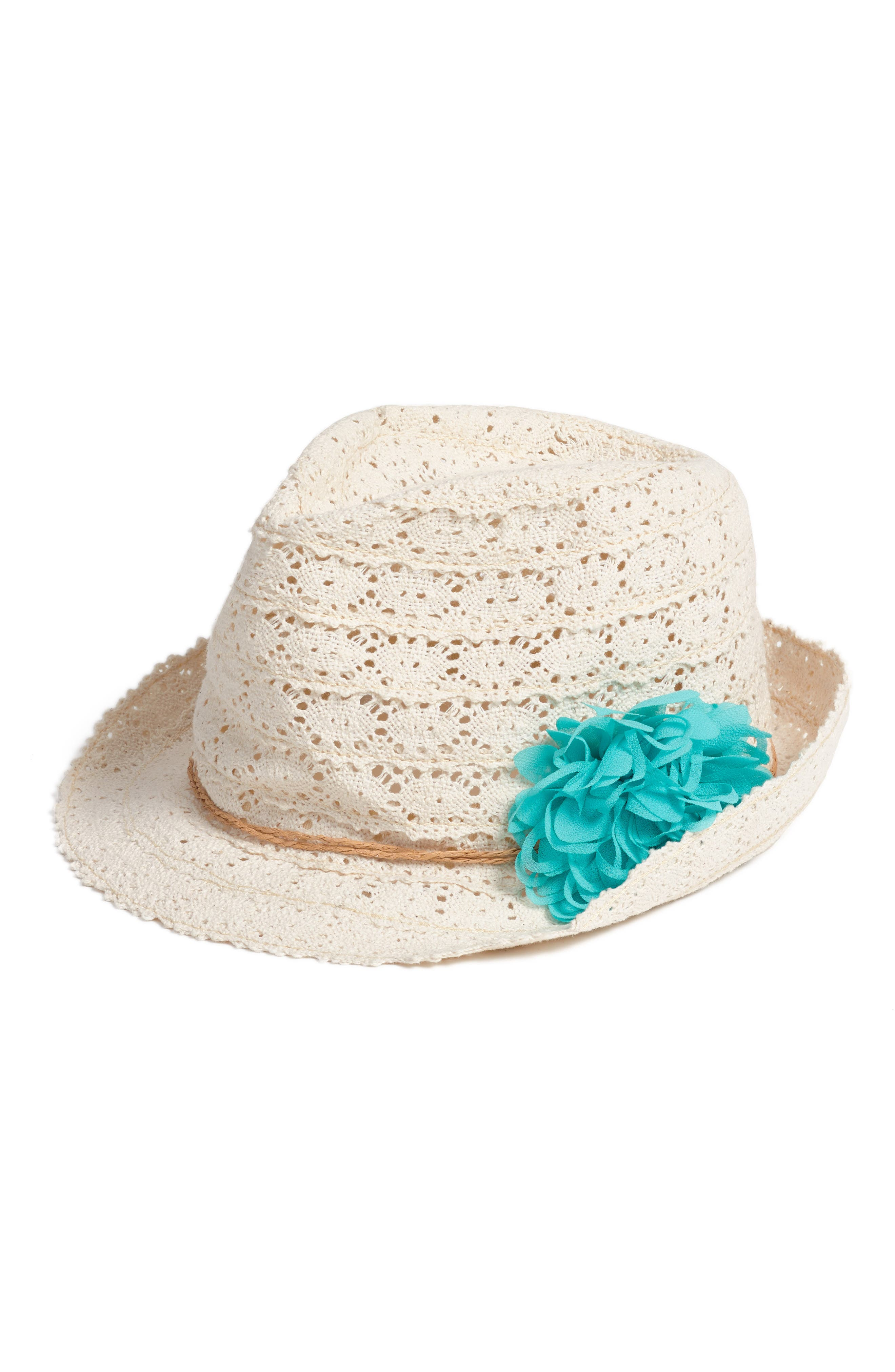 Capelli of New York Crochet Trilby with Flower (Little Girls)