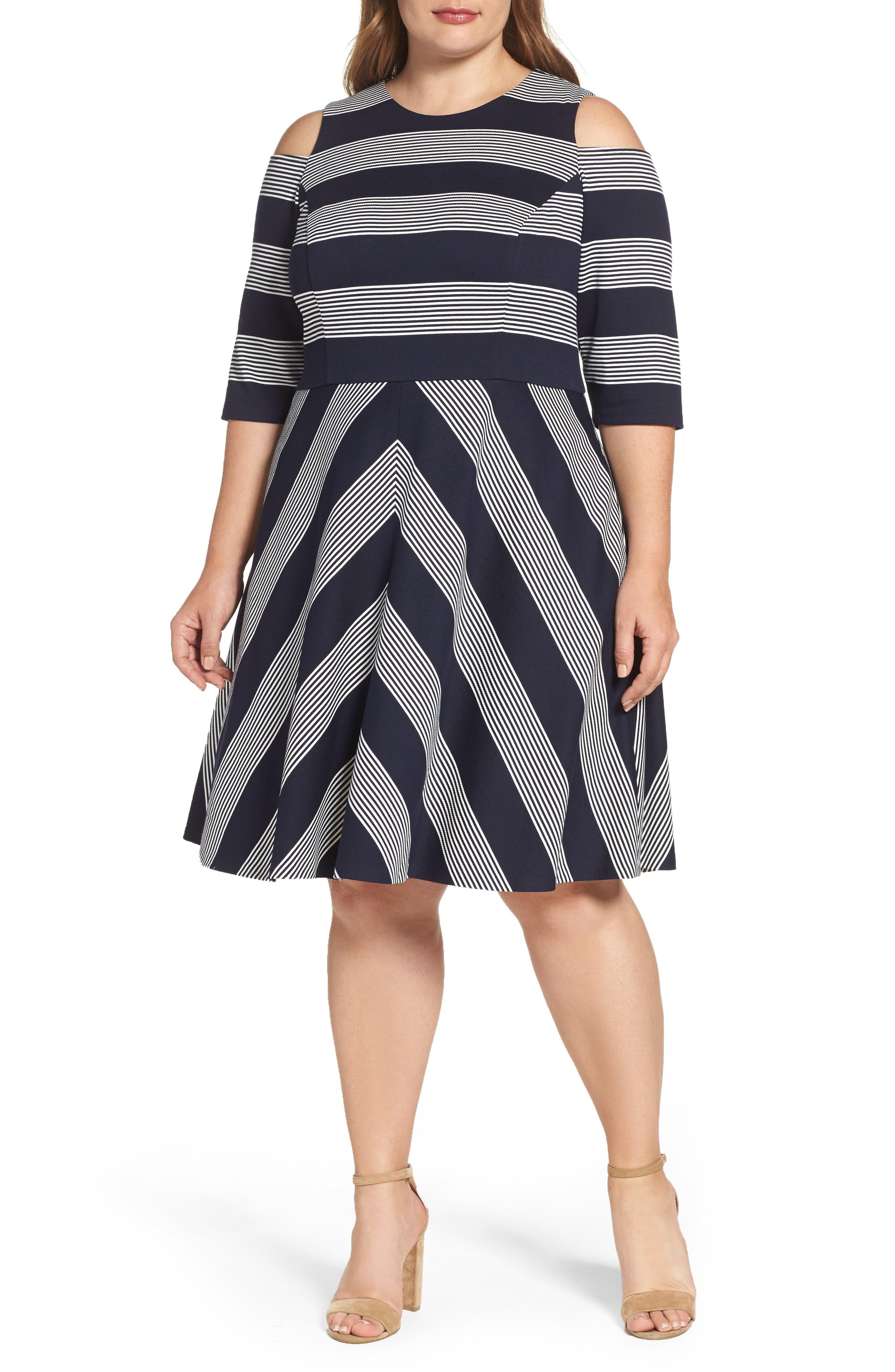 Eliza J Stripe Cold Shoulder Fit & Flare Dress (Plus Size)