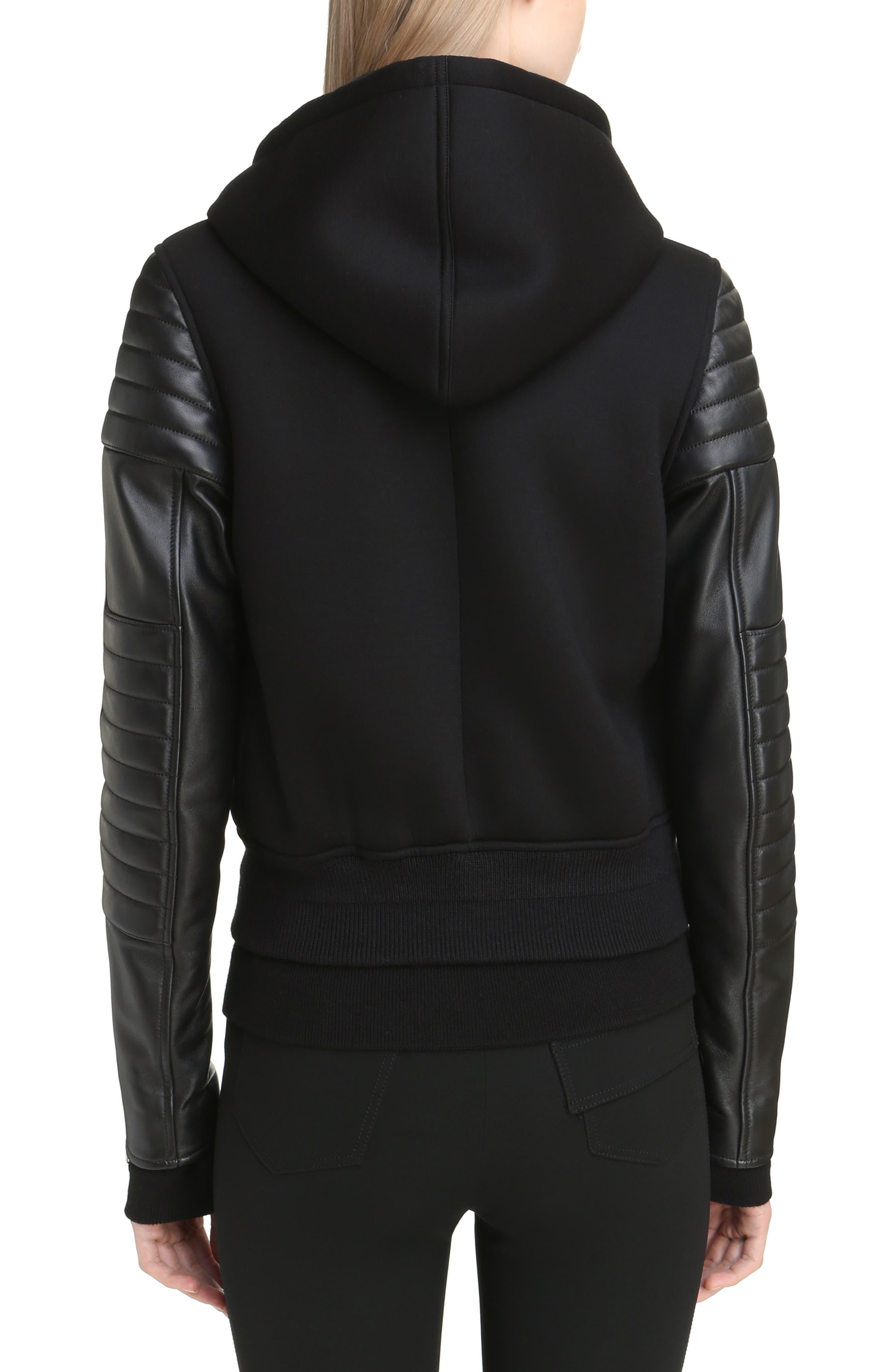 Alternate Image 2  - Givenchy Neoprene & Leather Hooded Moto Jacket